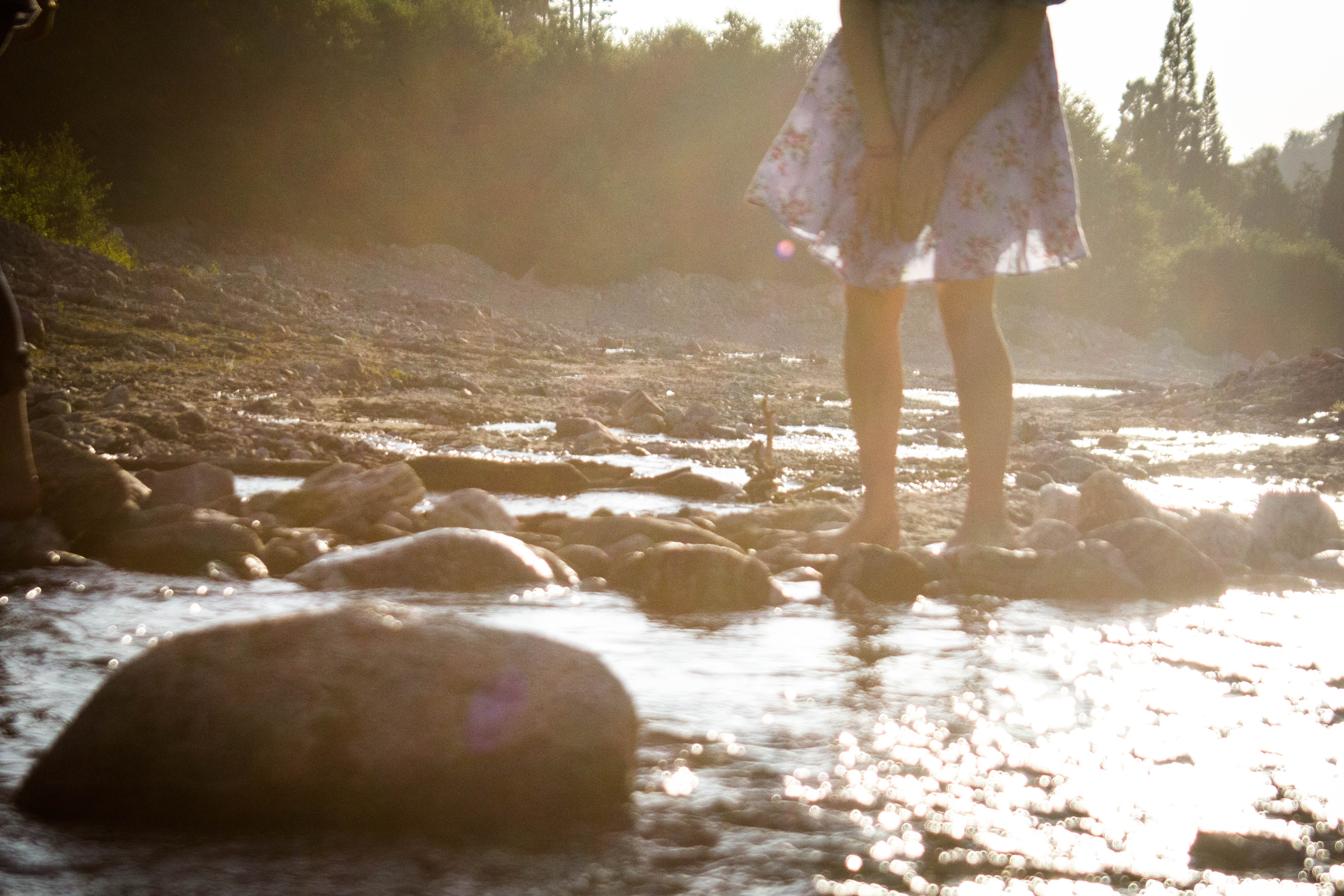 Free stock photo of barefoot, creek, female, forest