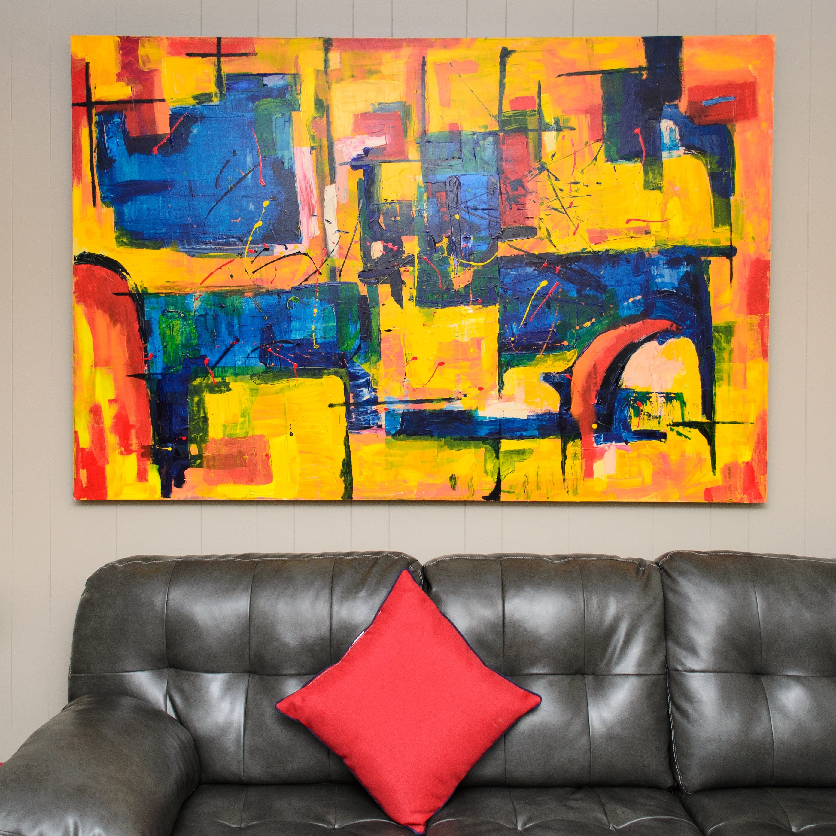 Abstract Color Painting on White Painted Wall