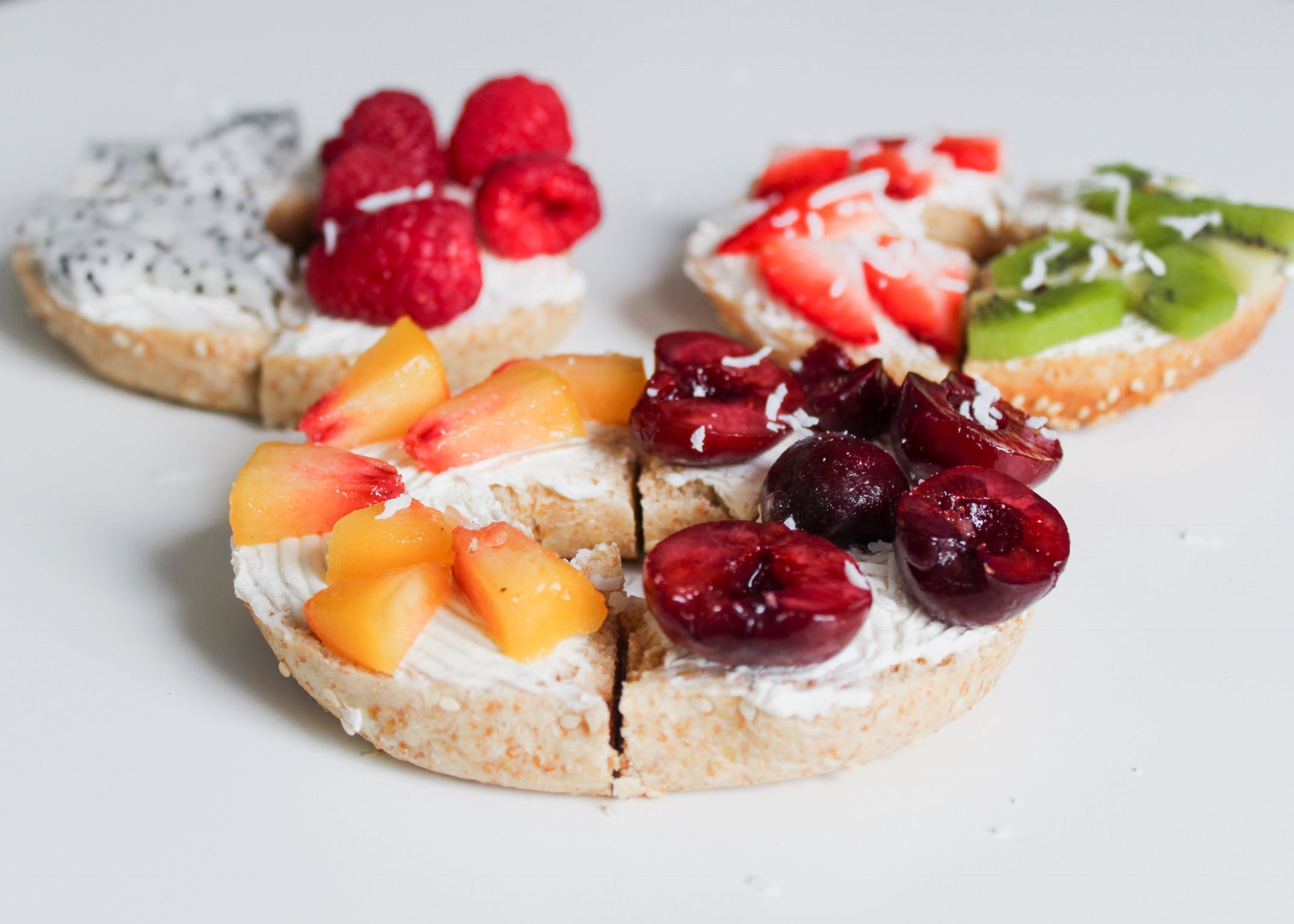 Three Biscuits With Fruit Toppings