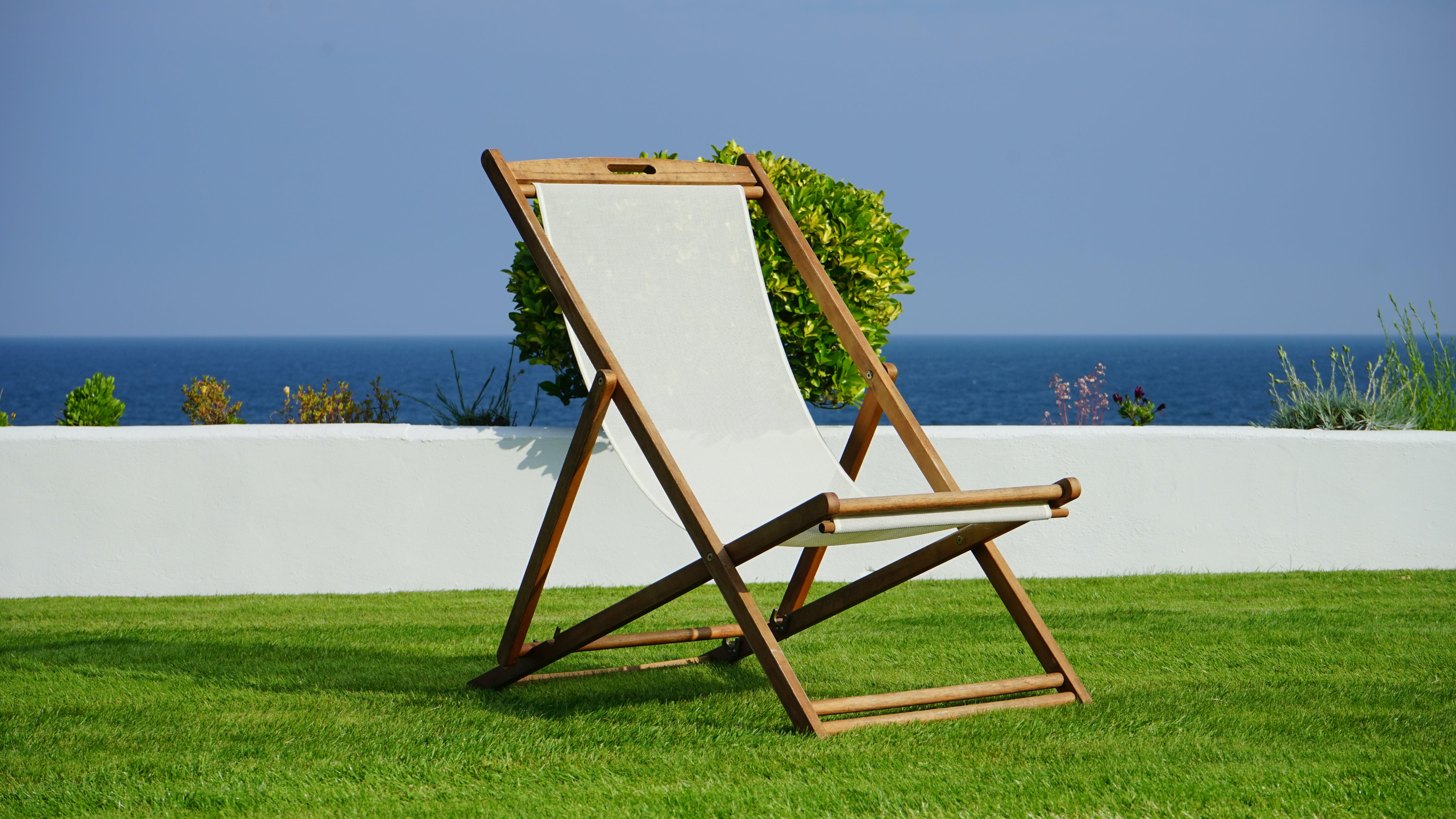 Brown and White Wooden Lounger