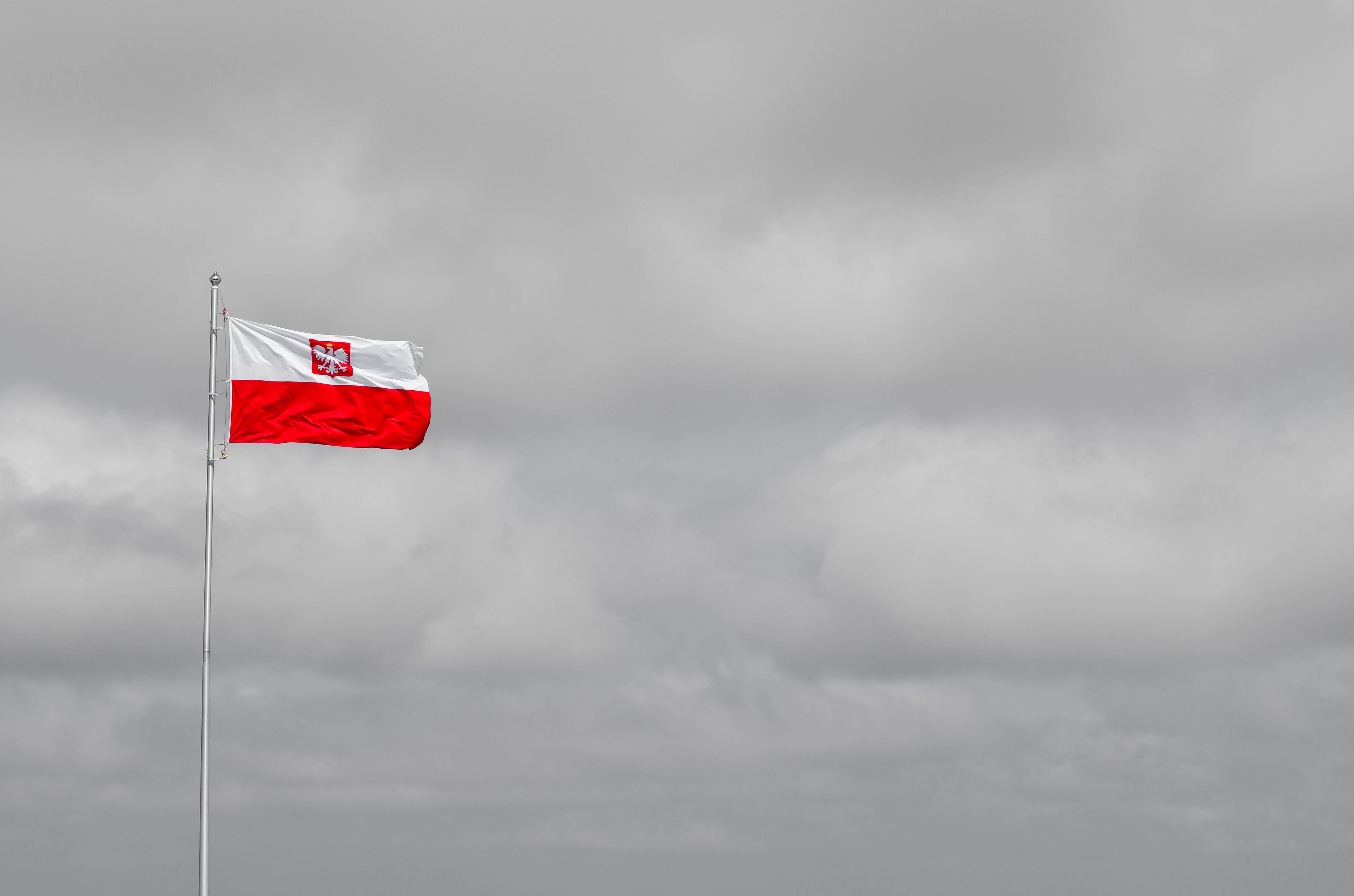 Free stock photo of dark clouds, flag, national, poland