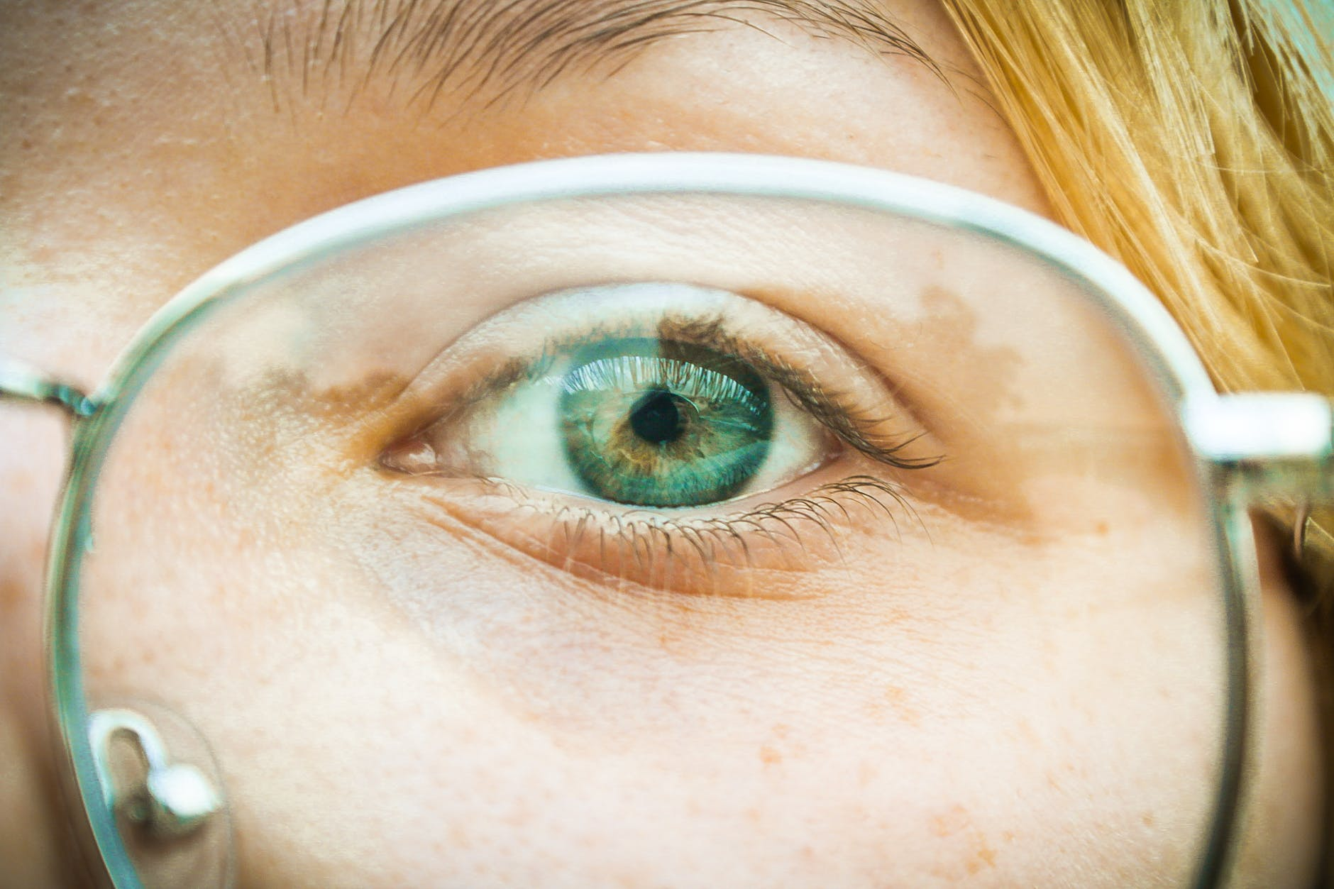 An image of a person's eye with eyeglasses on