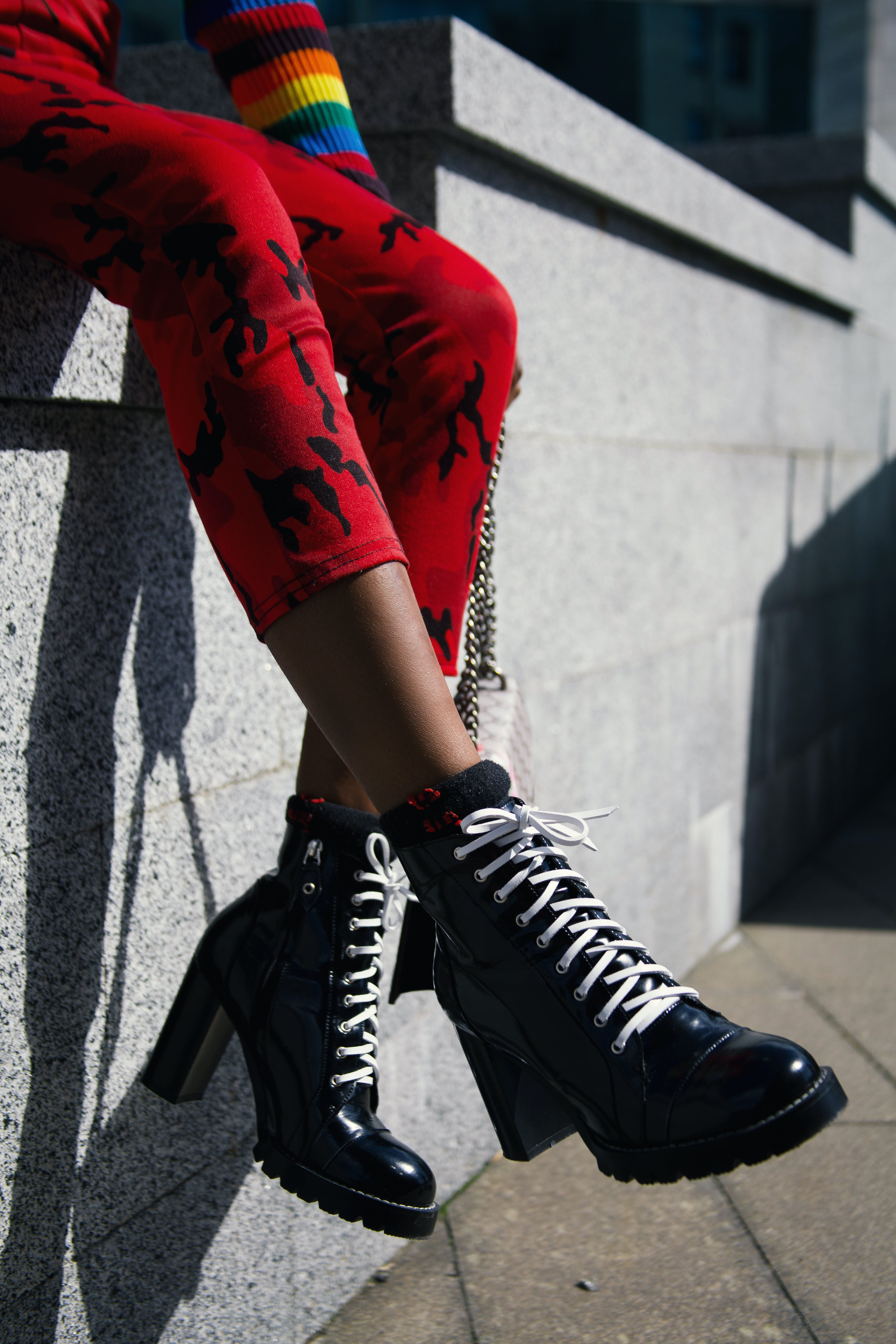 Person Wearing Chunky Heeled Laceup Boots