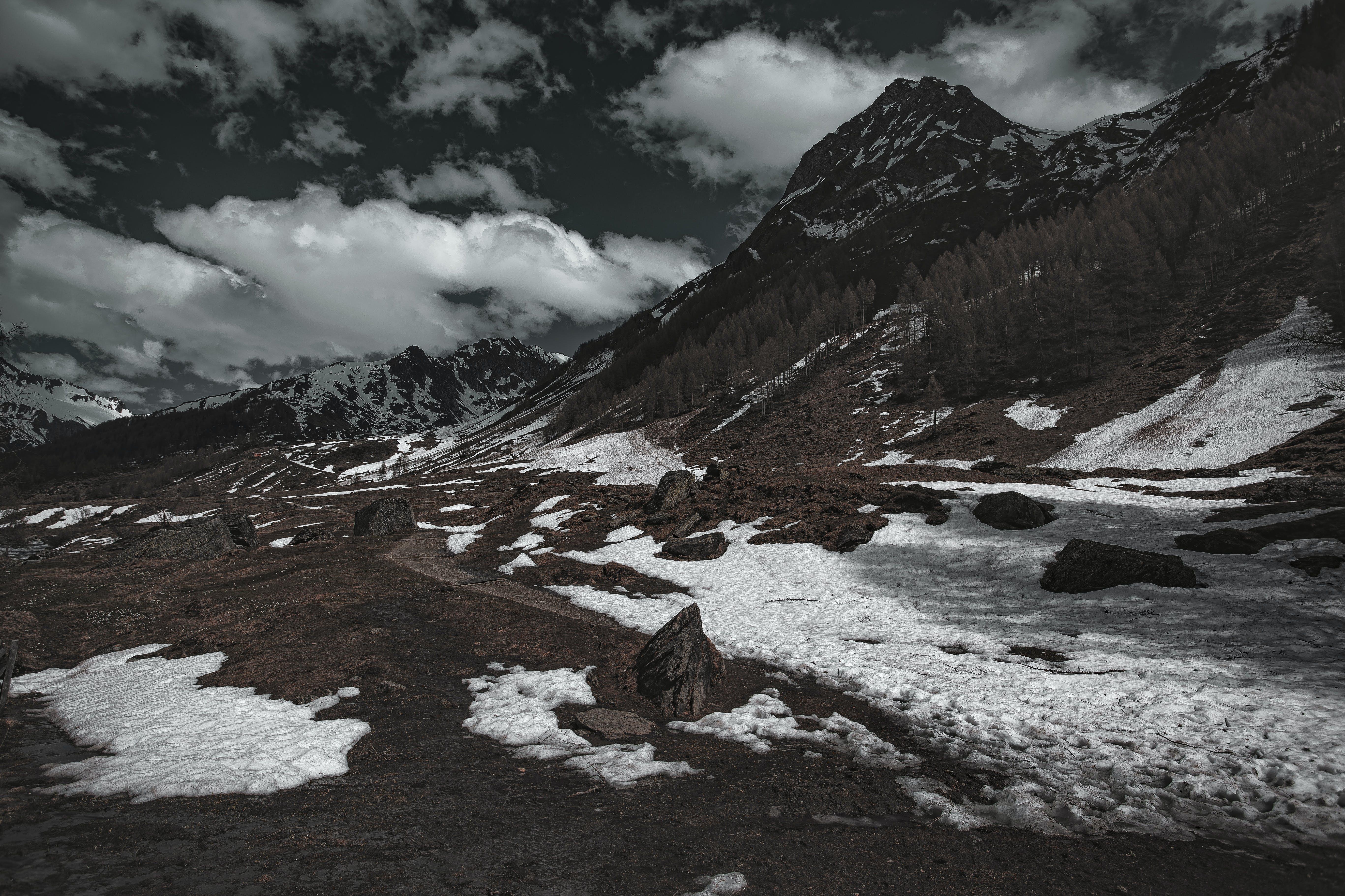 bjerg, forkølelse, frossen