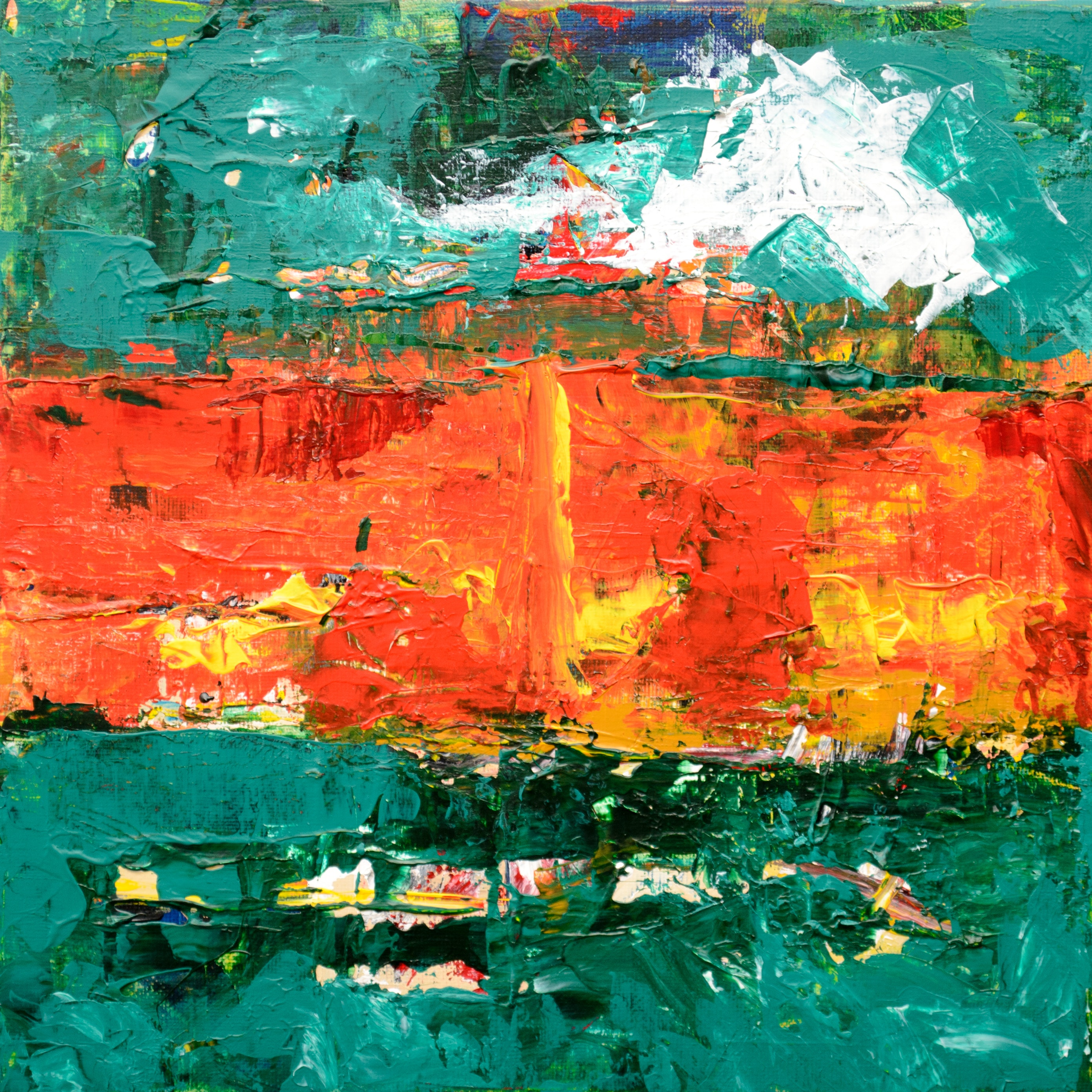 Green Orange And Yellow Abstract Painting Free Stock Photo