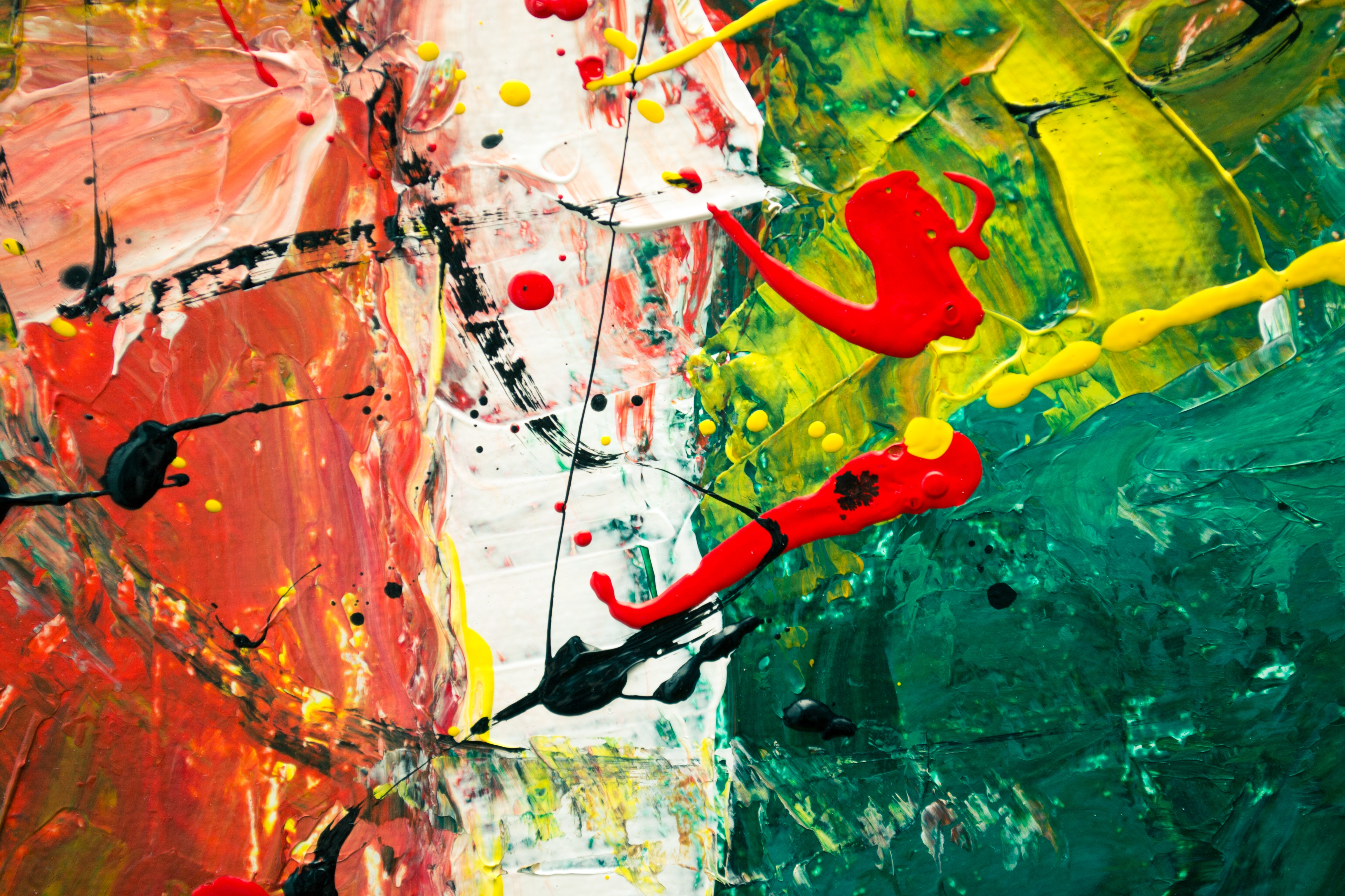 Green White And Red Abstract Painting