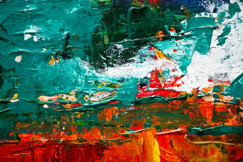 Green and Red Abstract Painting