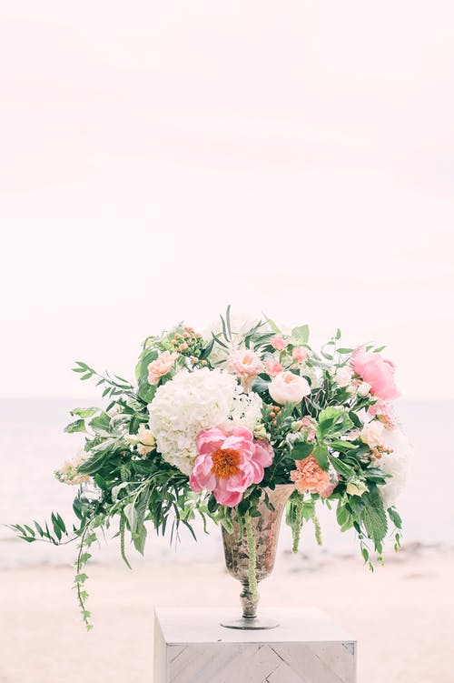 Photo of White and Pink Flowers on Gray Vase
