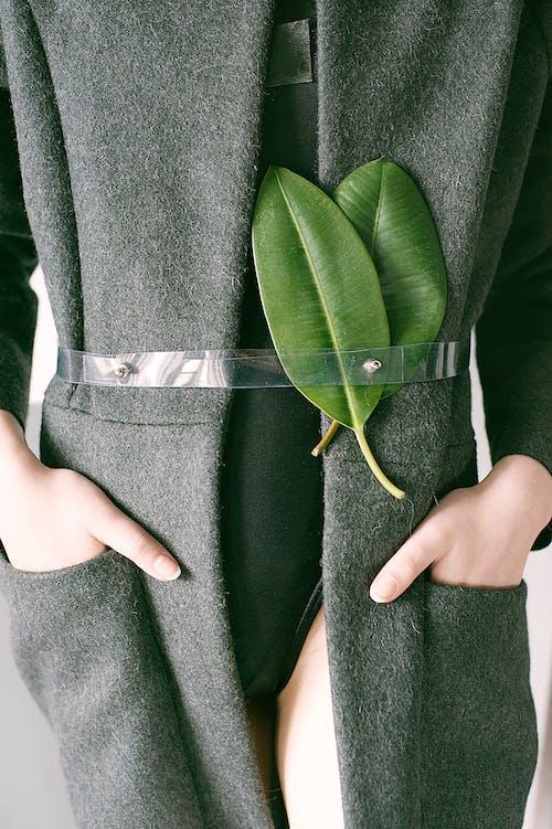 Immagine gratuita di alla moda, cappotto, cintura, foglie
