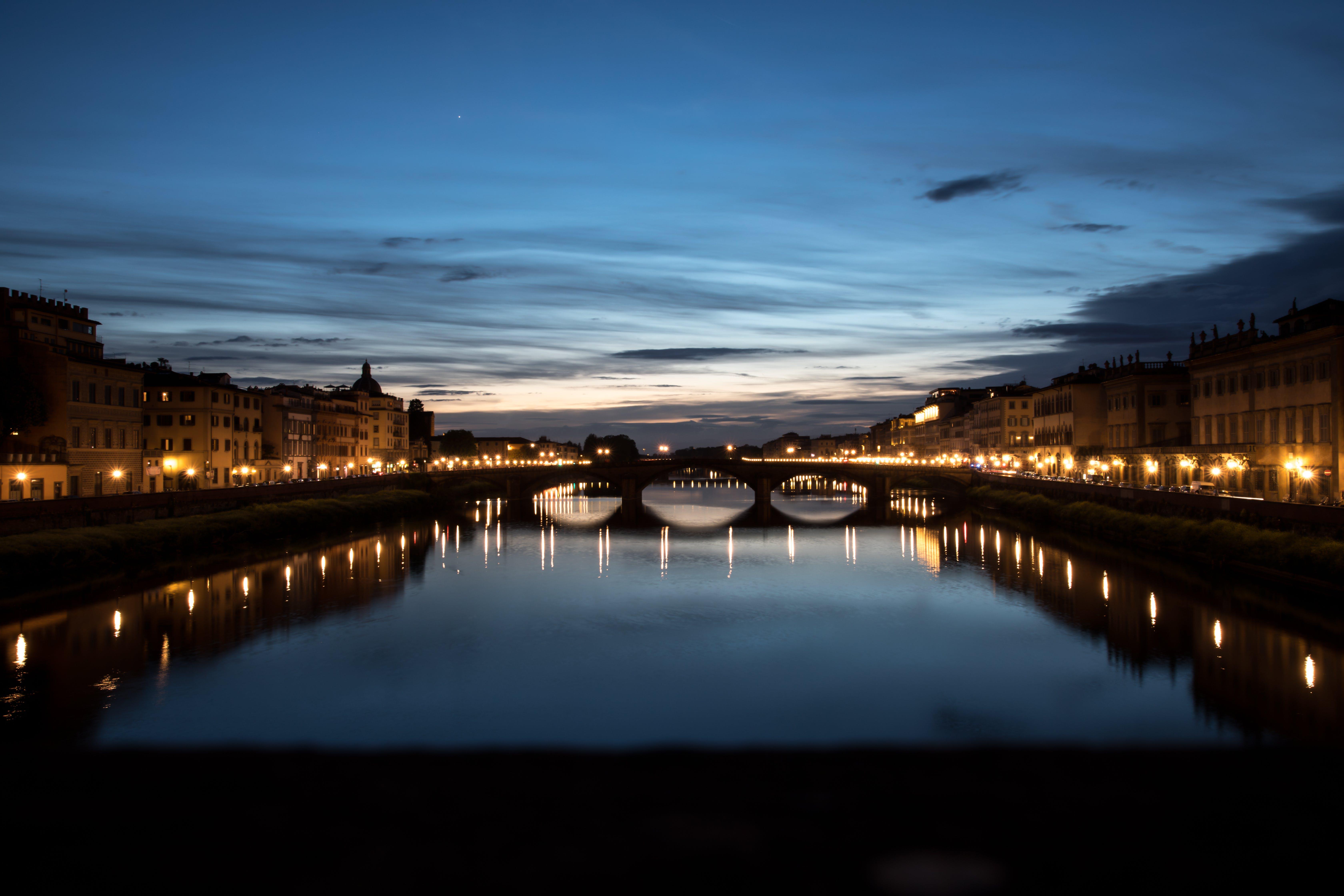 Free stock photo of bridge, florence, river, sunset