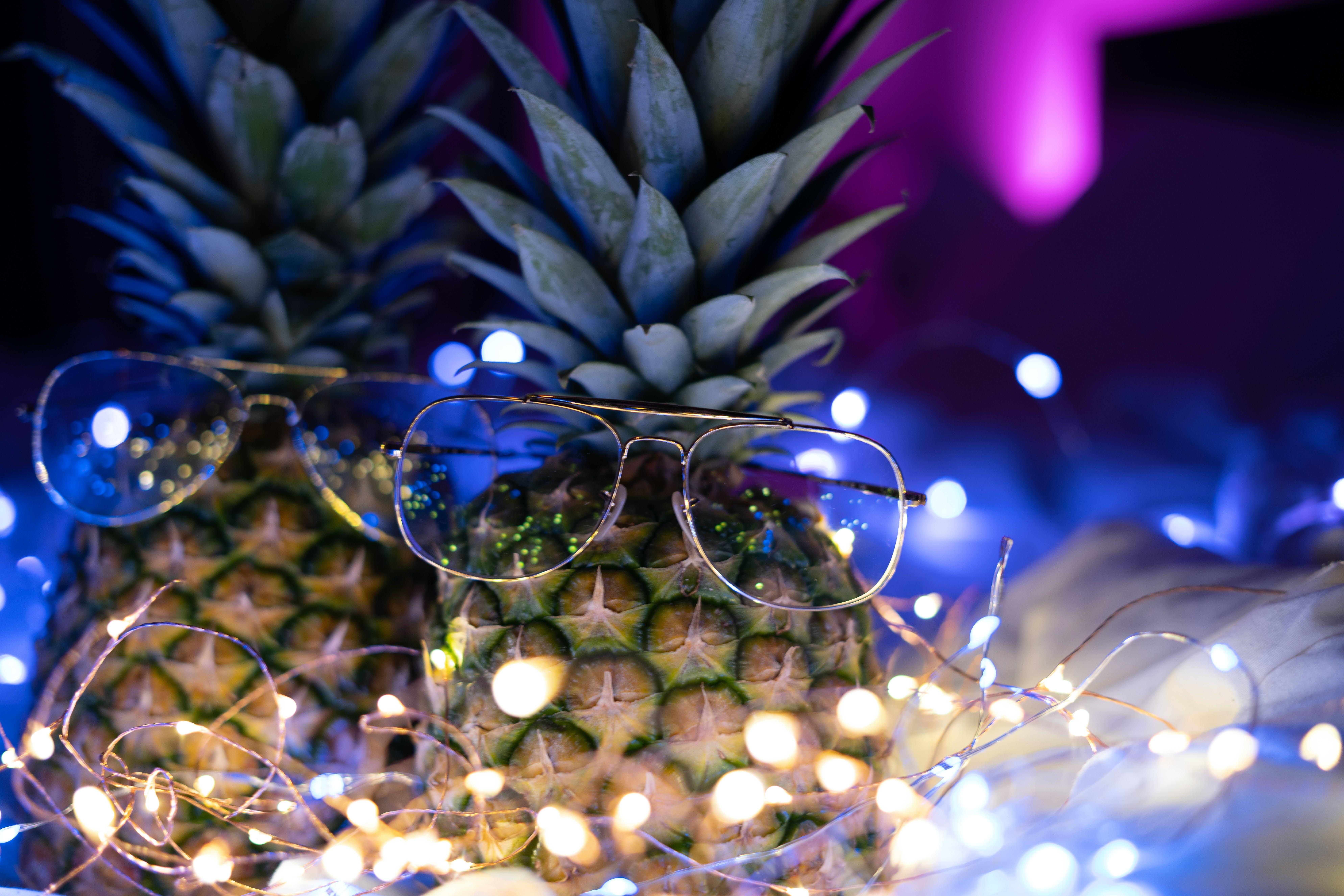 Free stock photo of camera, pineapple, neon, neon light