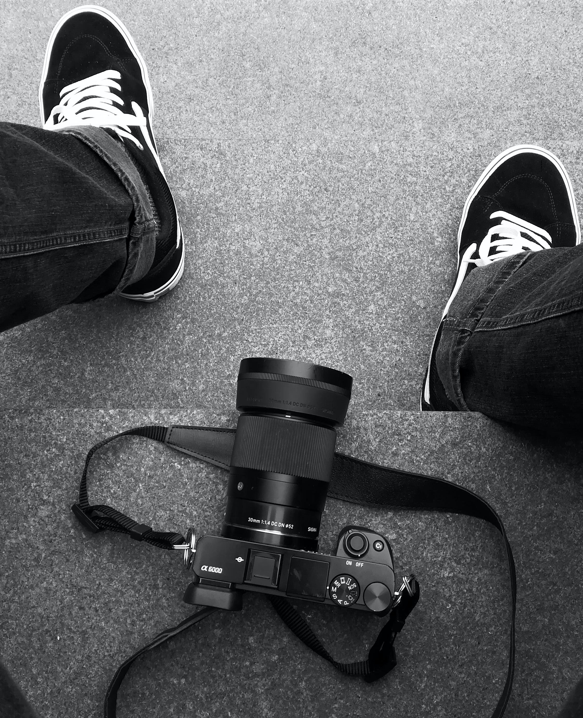 Free stock photo of stairs, camera, sitting, shoes