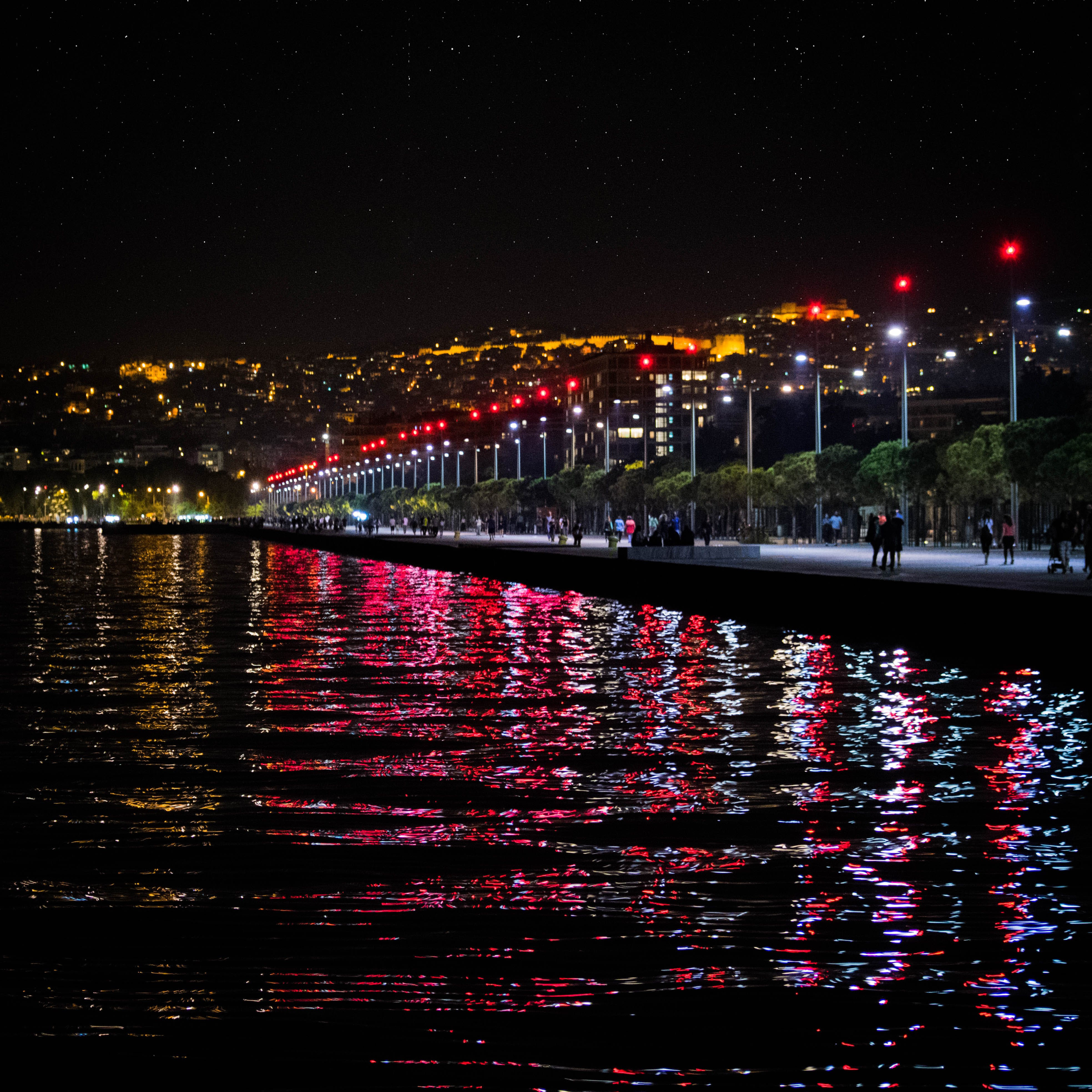 Free stock photo of sea, city, red, lights