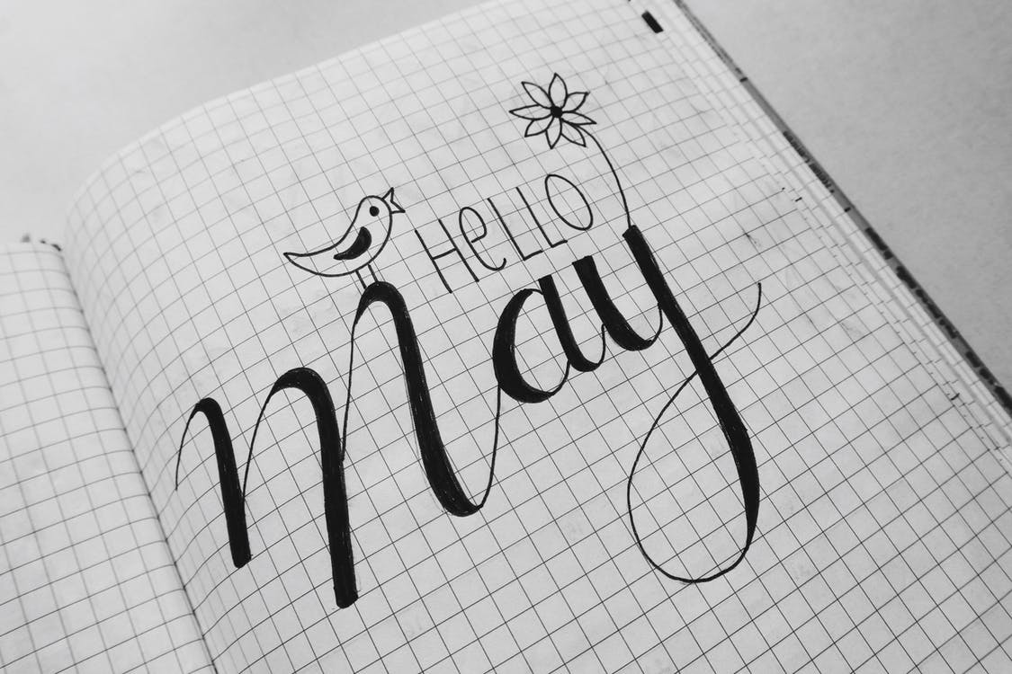 White Graphing Paper With Hello May Text