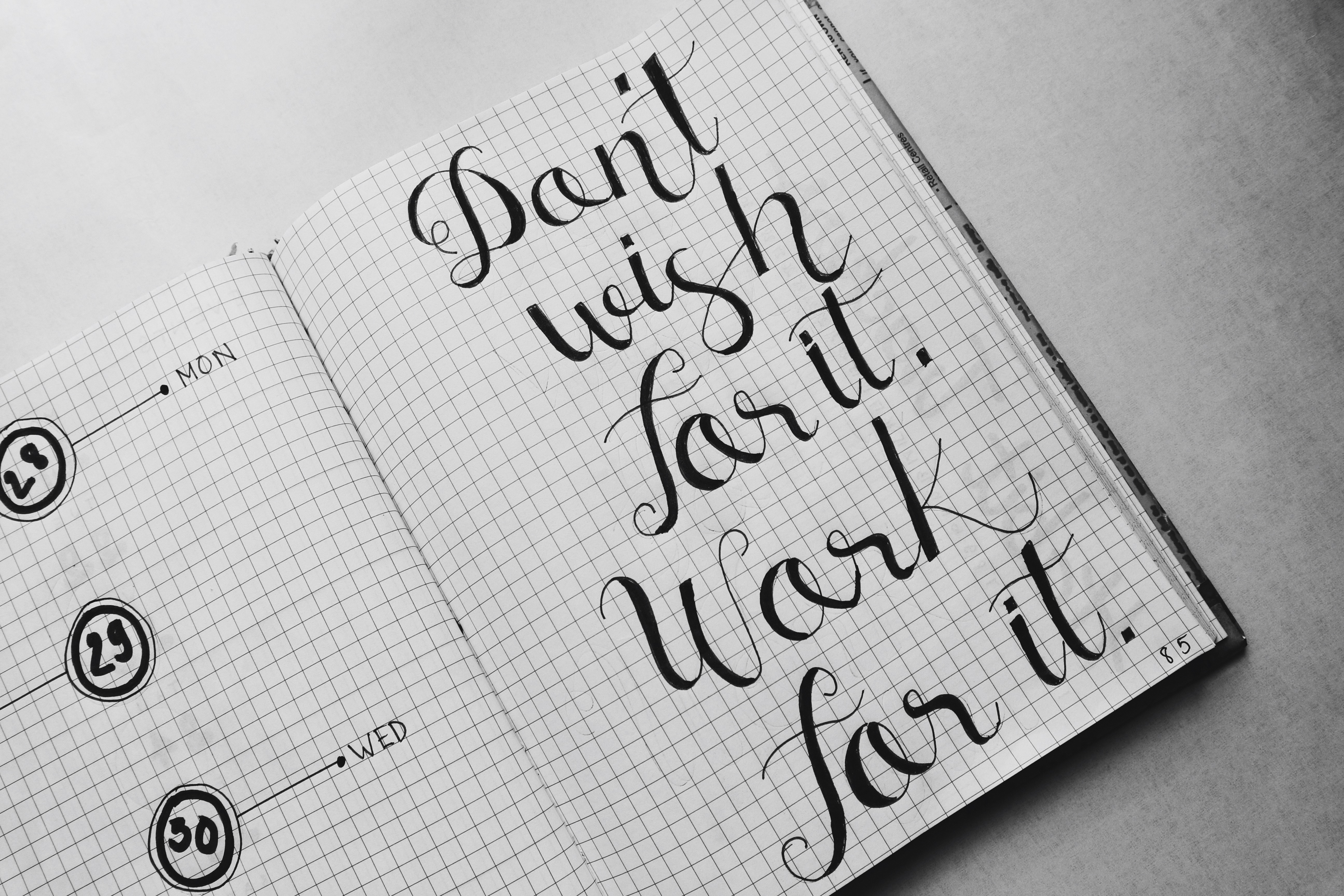 Dont Wish for It Work for It Calligraphy