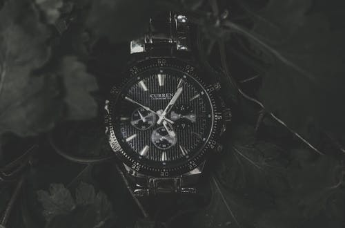 Round Black Current Chronograph Watch With Link Bracelet