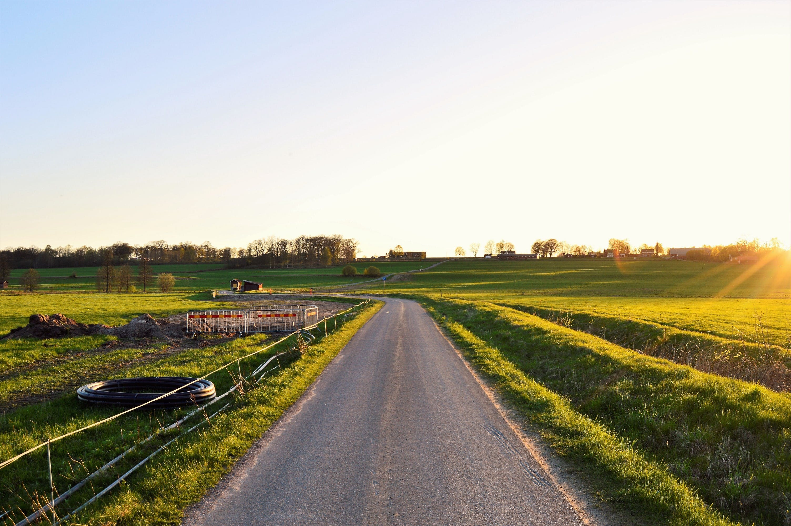 Free stock photo of road, nature, sunset, field