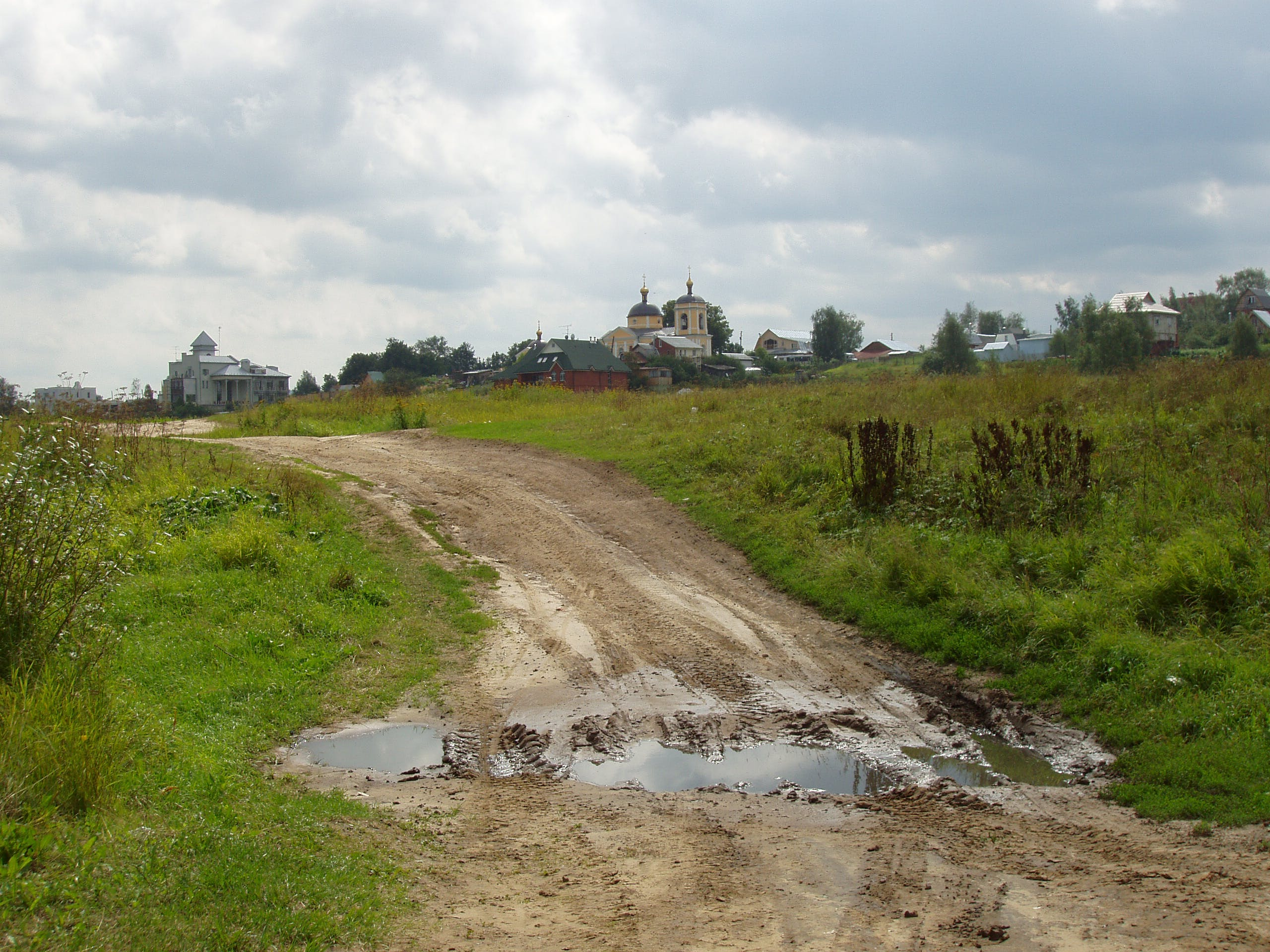Free stock photo of dirt road, moscow region, orthodox church, puddle