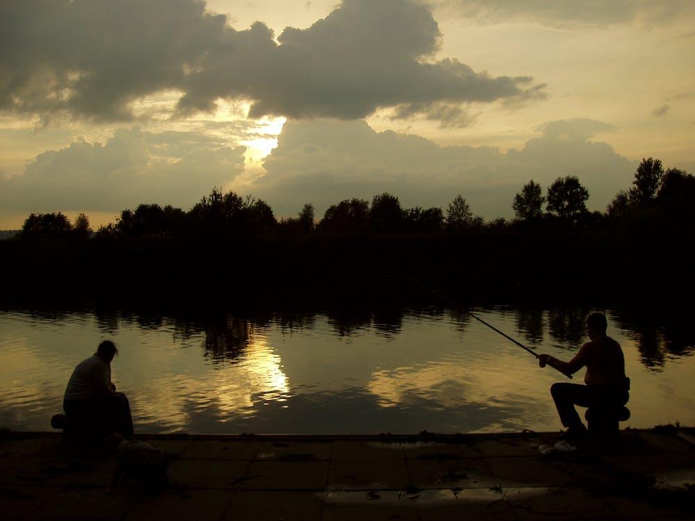 auringonlasku, ilta, kalastajat