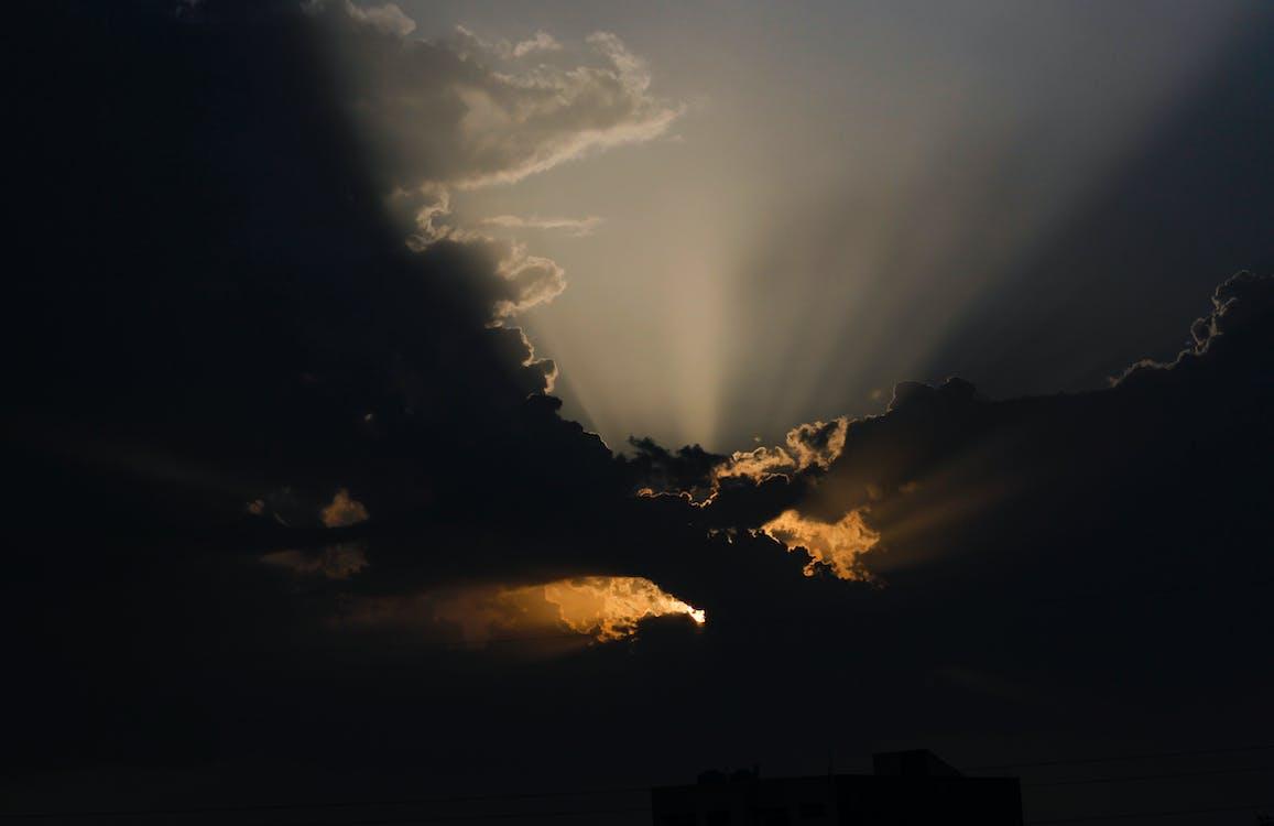 fotografia con le nuvole, nuvole, ora d'oro