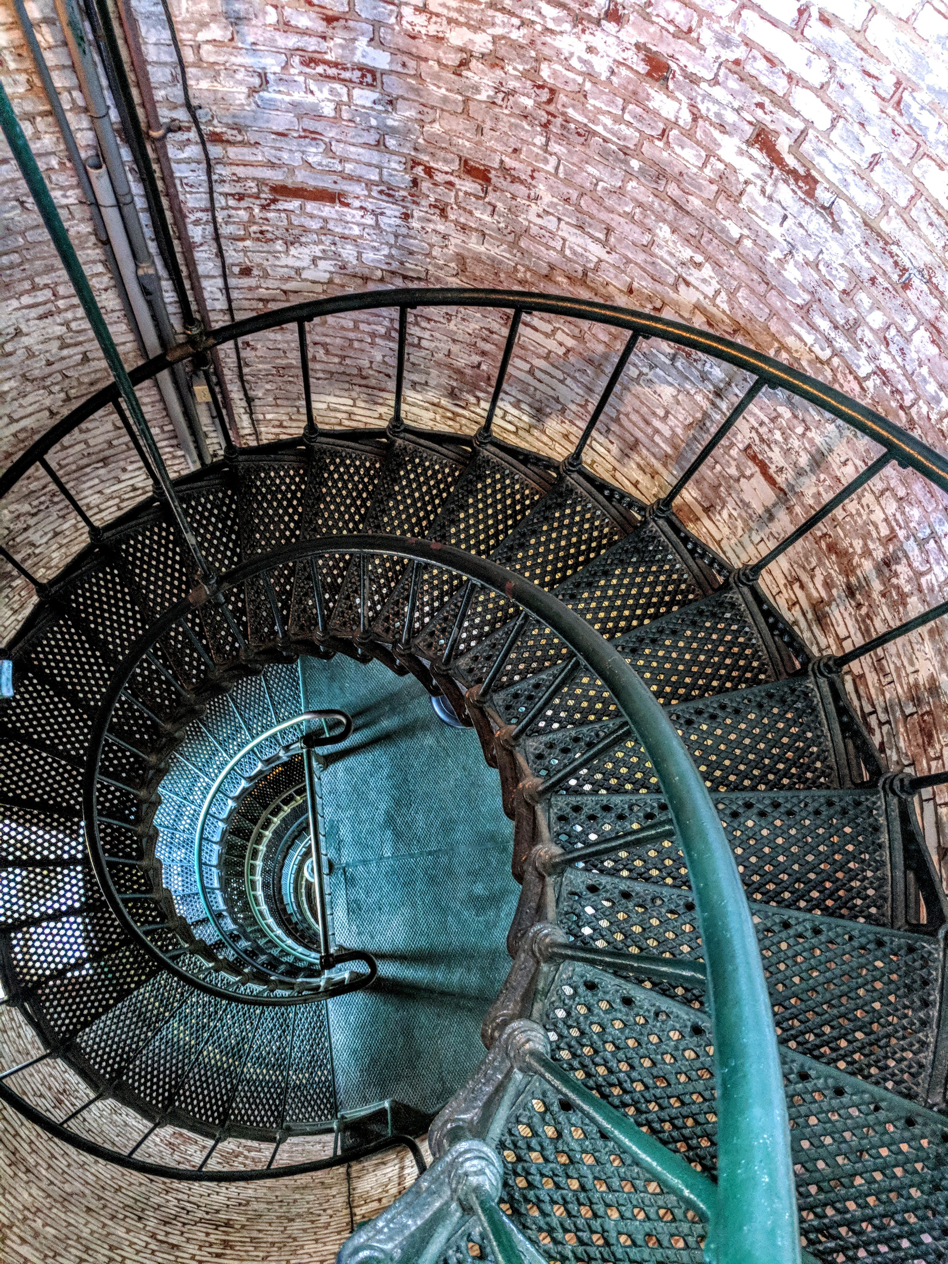 Top View of Green Metal Spiral Staircase