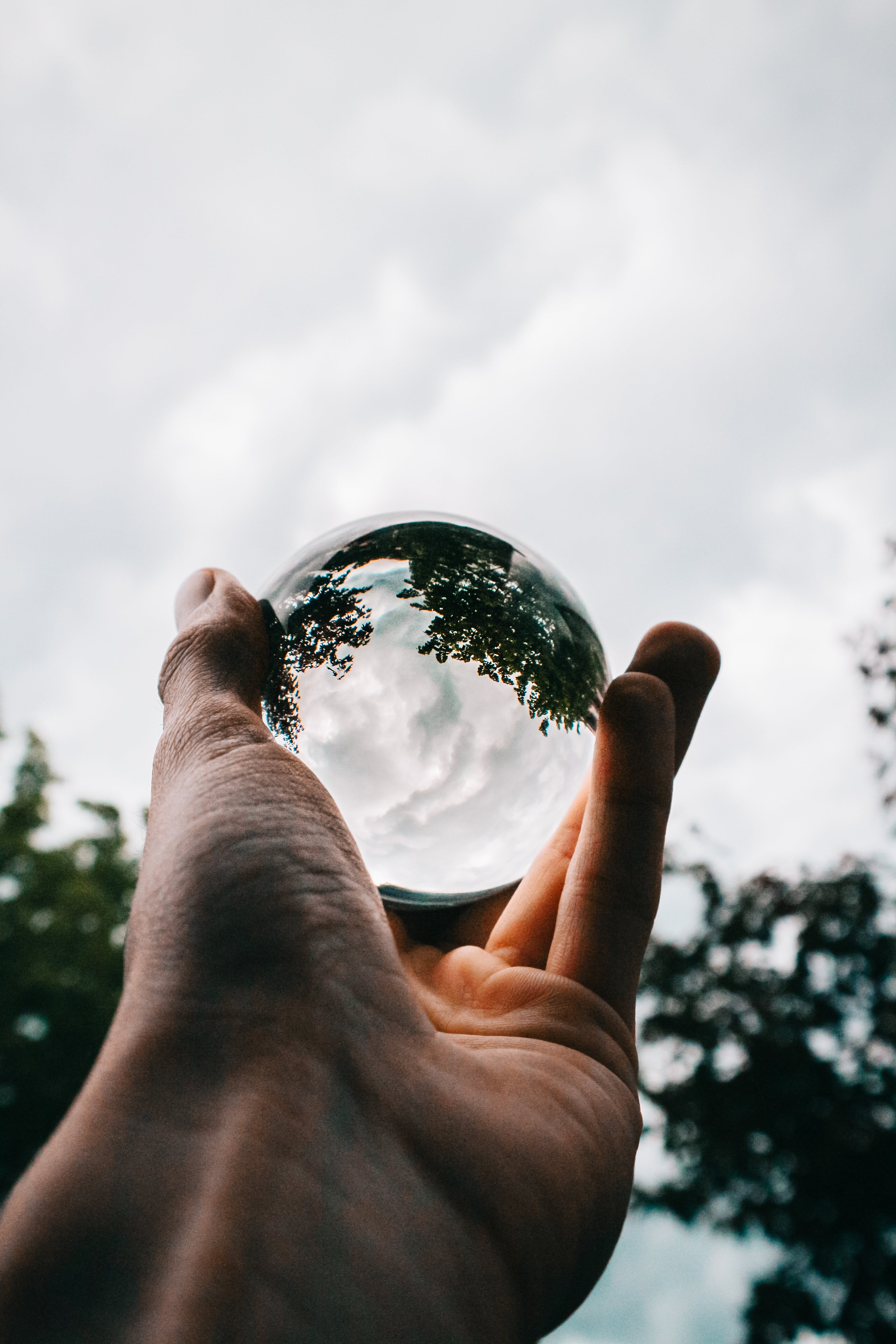 Photo of Person Holding Clear Glass Ball