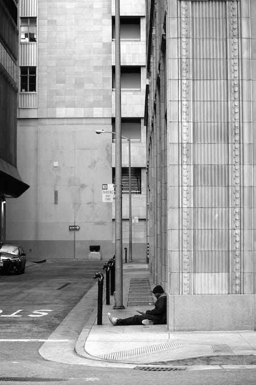 architektura, budovy, černobílá