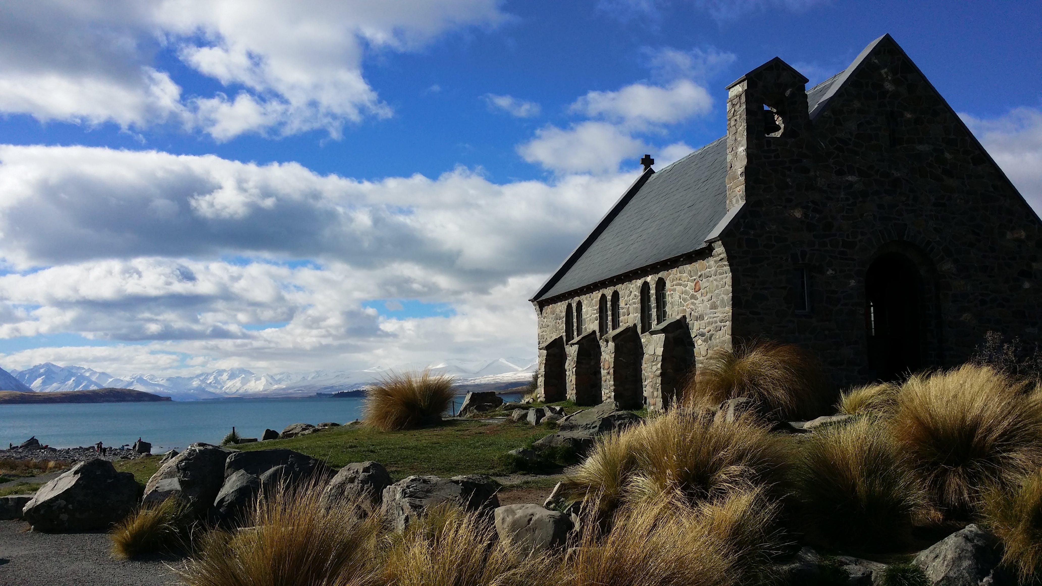 Free stock photo of church, lake, new zealand, shepherd
