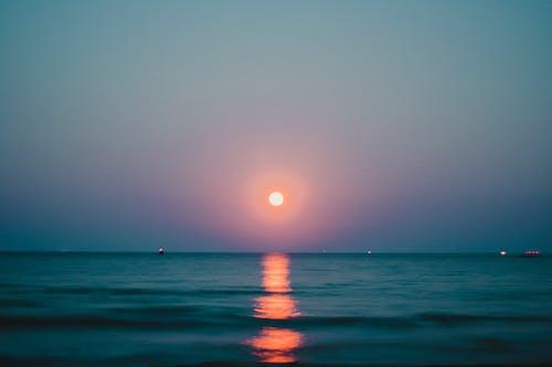 Free stock photo of beach, landscape, light, moon