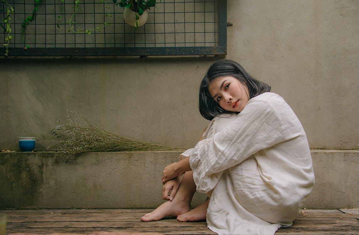 adolescent, asiàtica, assegut