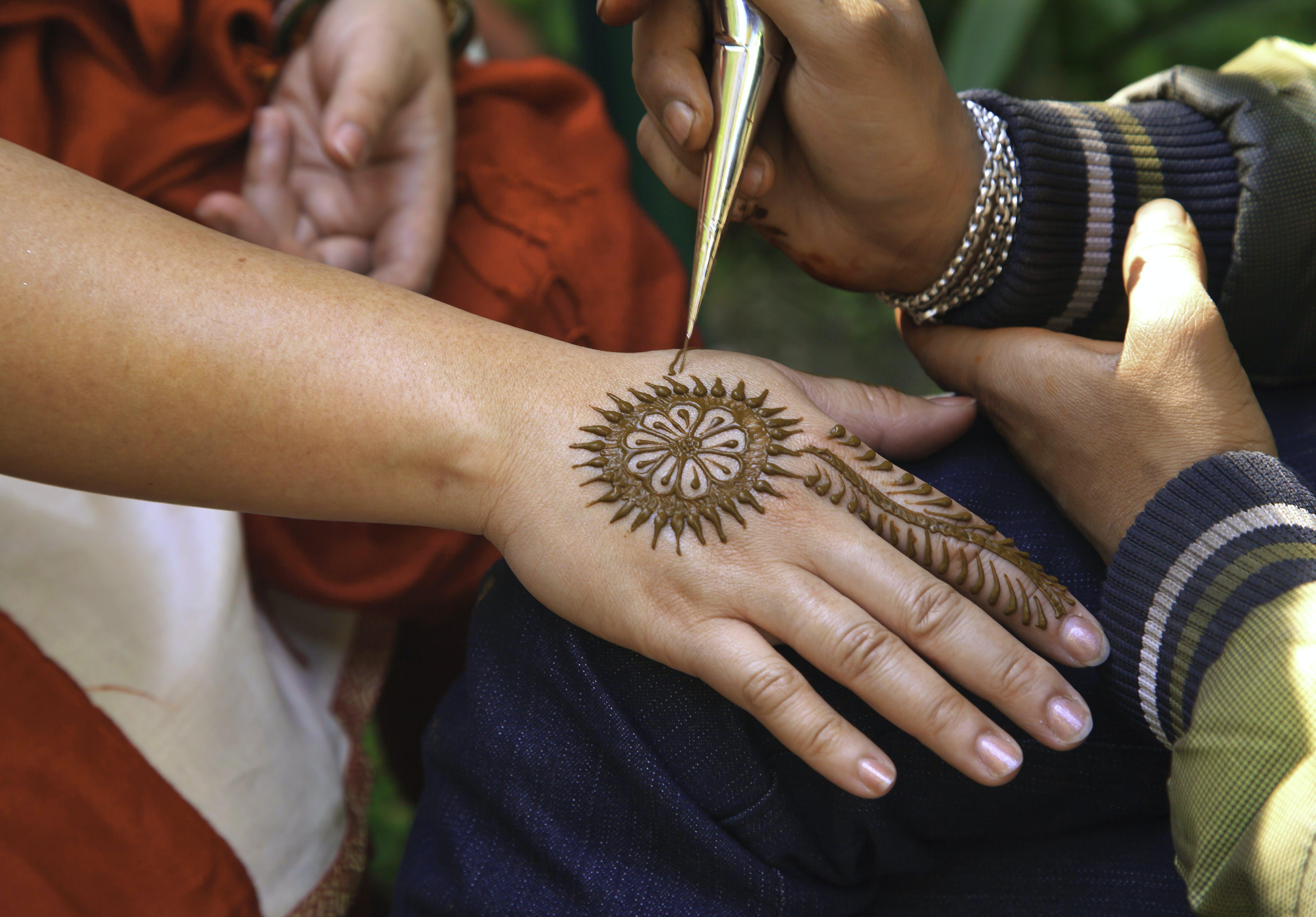 Mehndi Tattoo On Right Hand