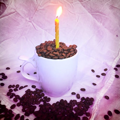 Free stock photo of birthday, candle, coffee
