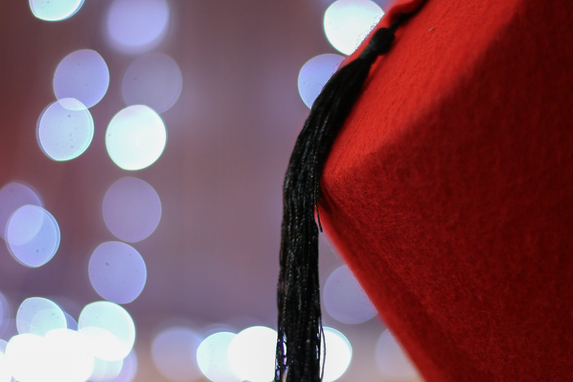 Red Chinese Cap With Black Tassel
