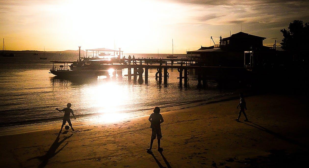 #beach soccer, #evening sun, #kids