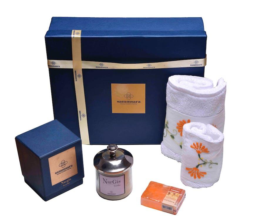 bộ quà tặng, hương thơm nến, khăn đặt