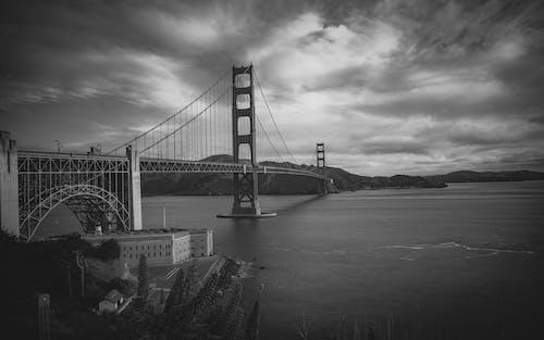 Základová fotografie zdarma na téma černobílá, krásný, most Golden Gate, oceán
