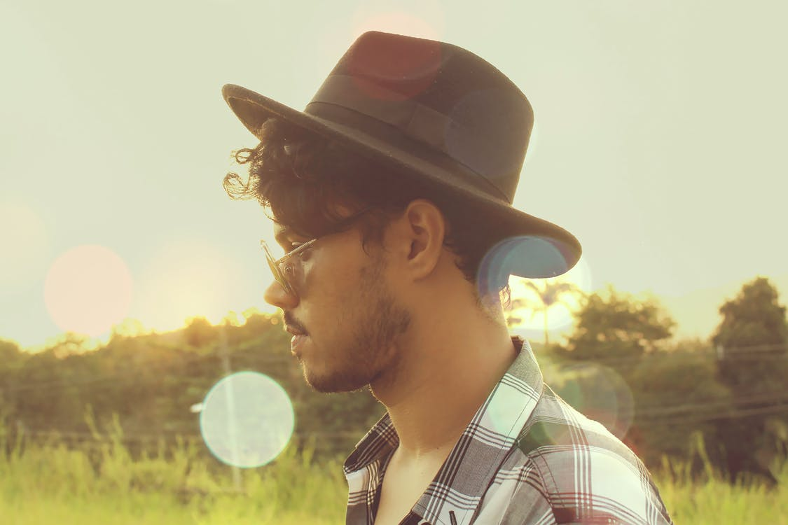 Man Wearing Black Hat and Sunglasses