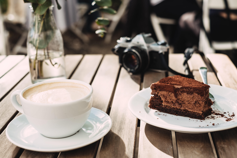 Chocolate Cake Near Milk on Cup
