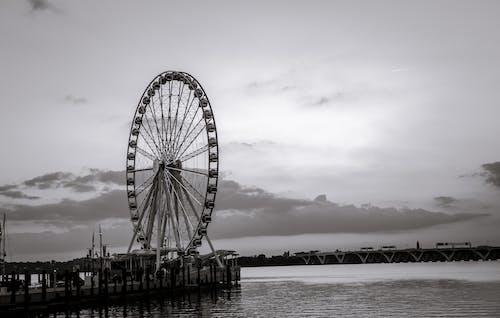 Δωρεάν στοκ φωτογραφιών με ασπρόμαυρο, βραδινός ουρανός, δύση του ηλίου, εθνικό λιμάνι