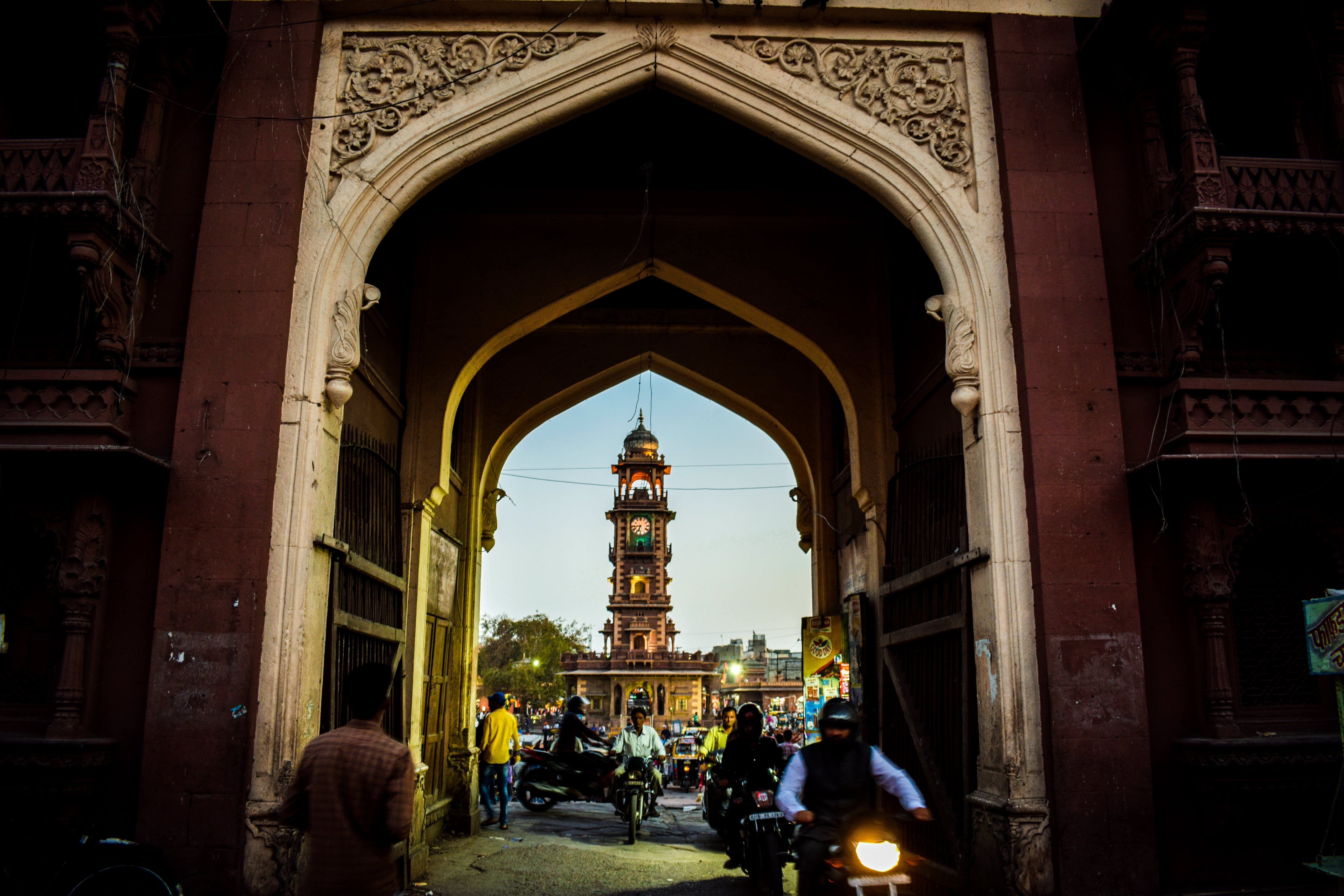 Free stock photo of bell tower, clock tower, crowd, india