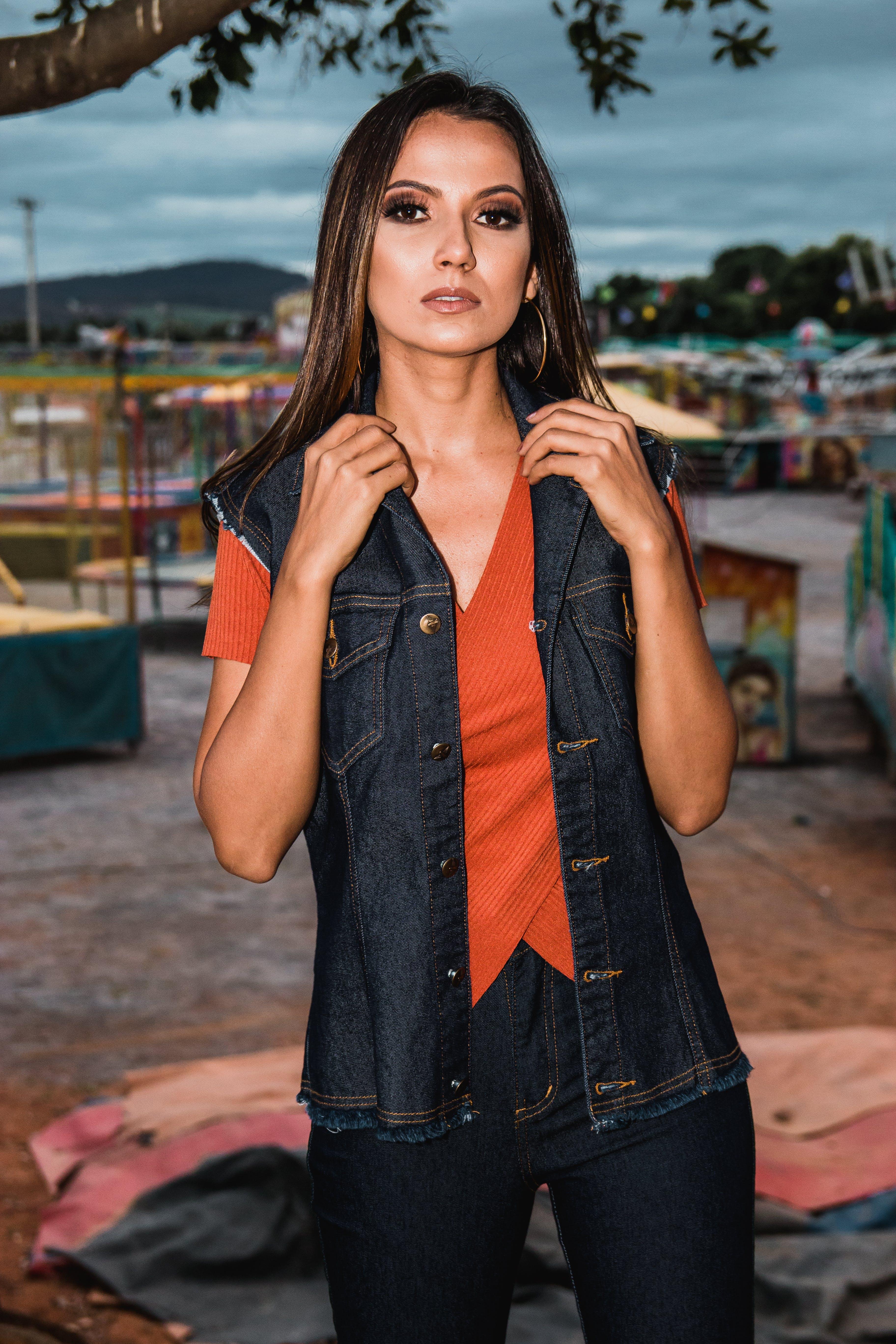 Woman In Orange V-neck T-shirt
