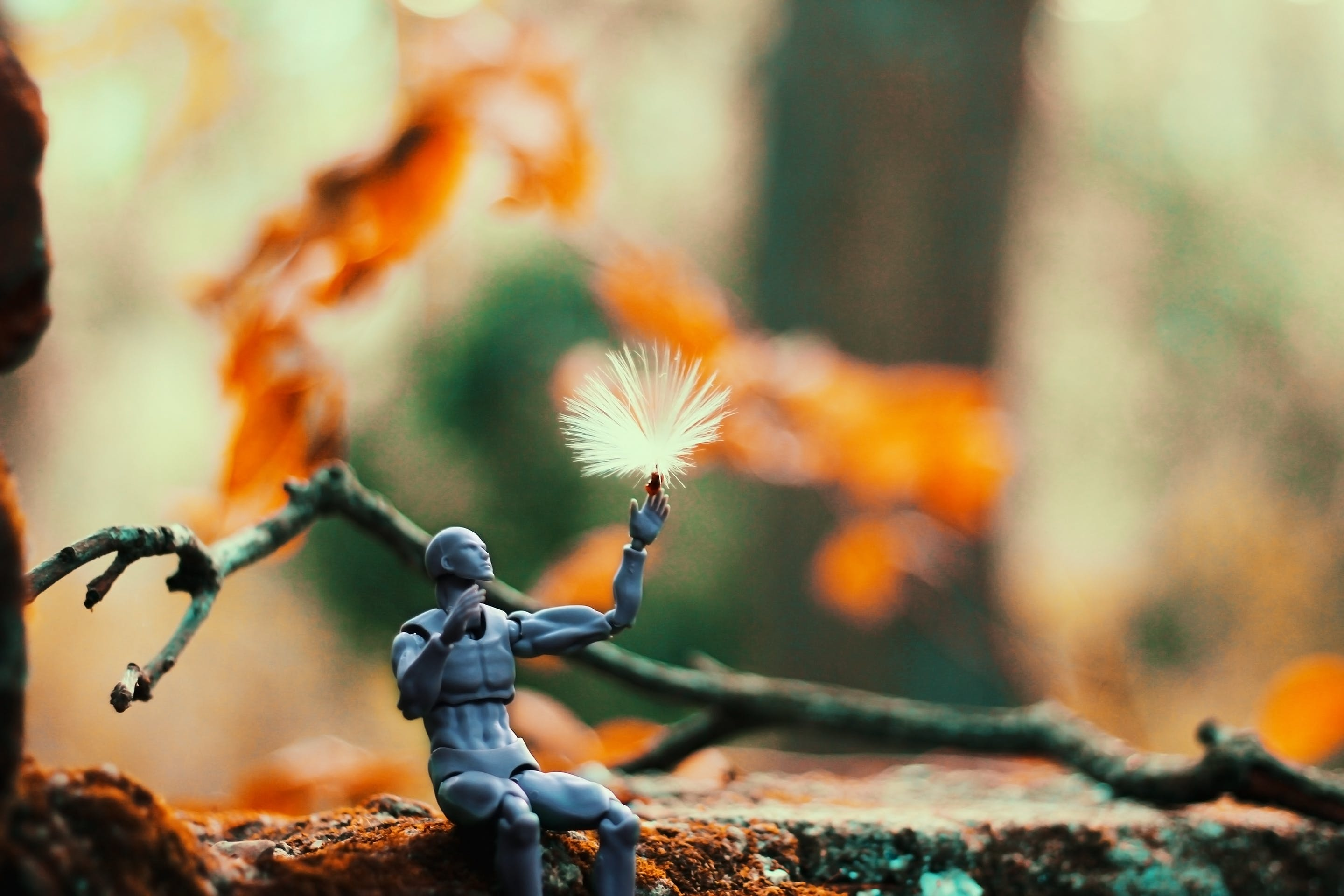 Sitting Gray Action Figure Beside Brown Tree Branch