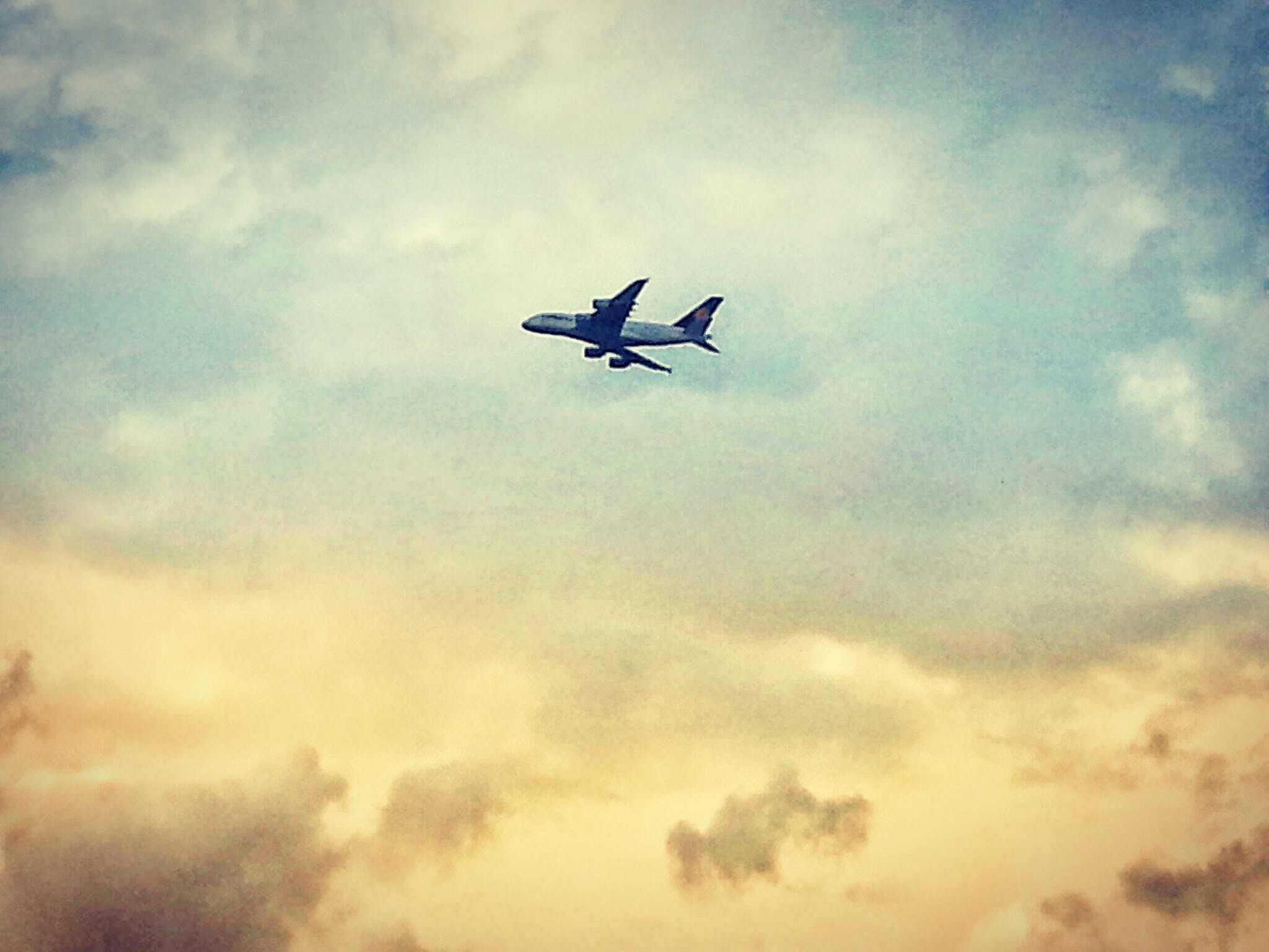 Free stock photo of airplane, cloudy, cloudy sky, flight