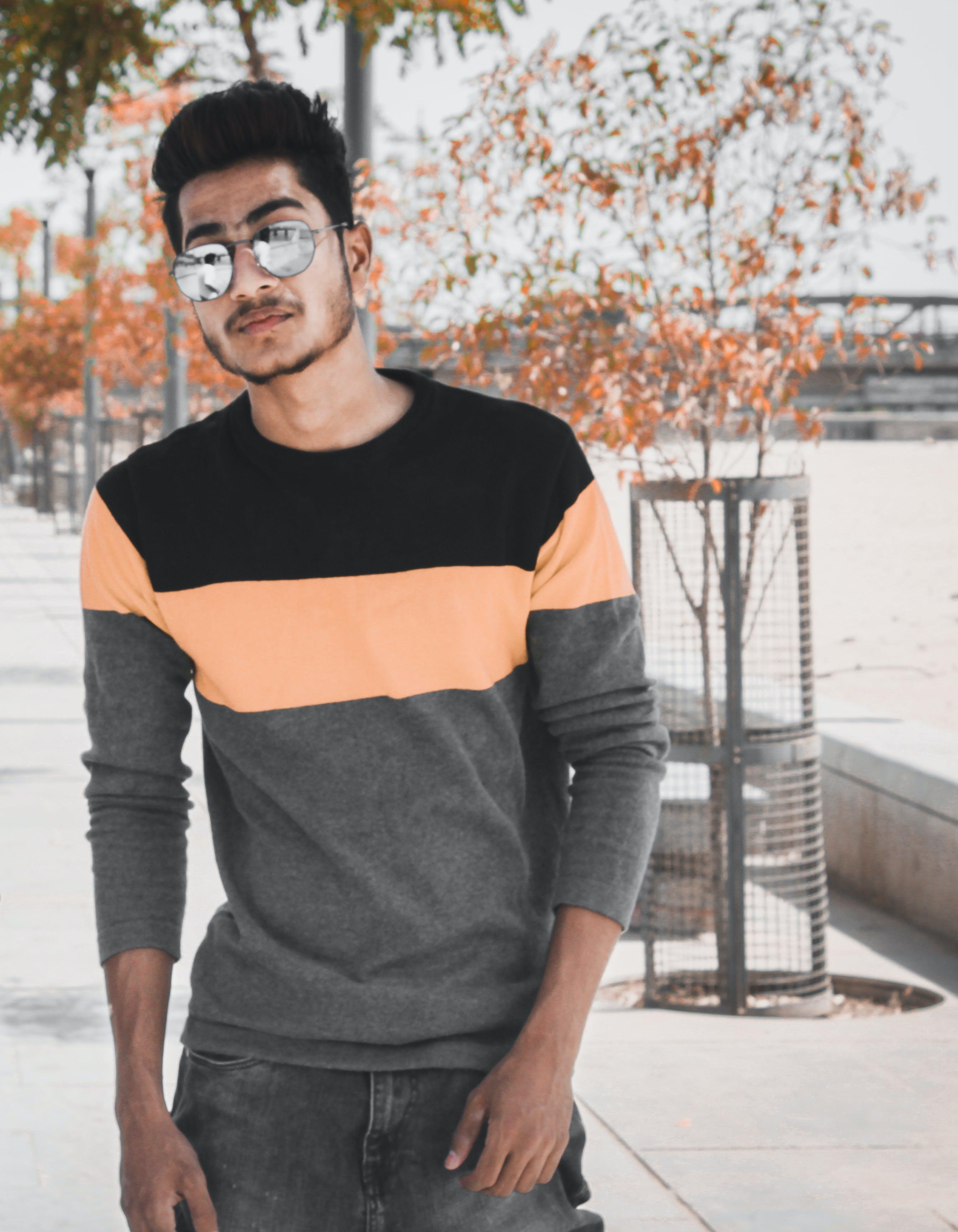 Man Wearing Long-sleeved Shirt