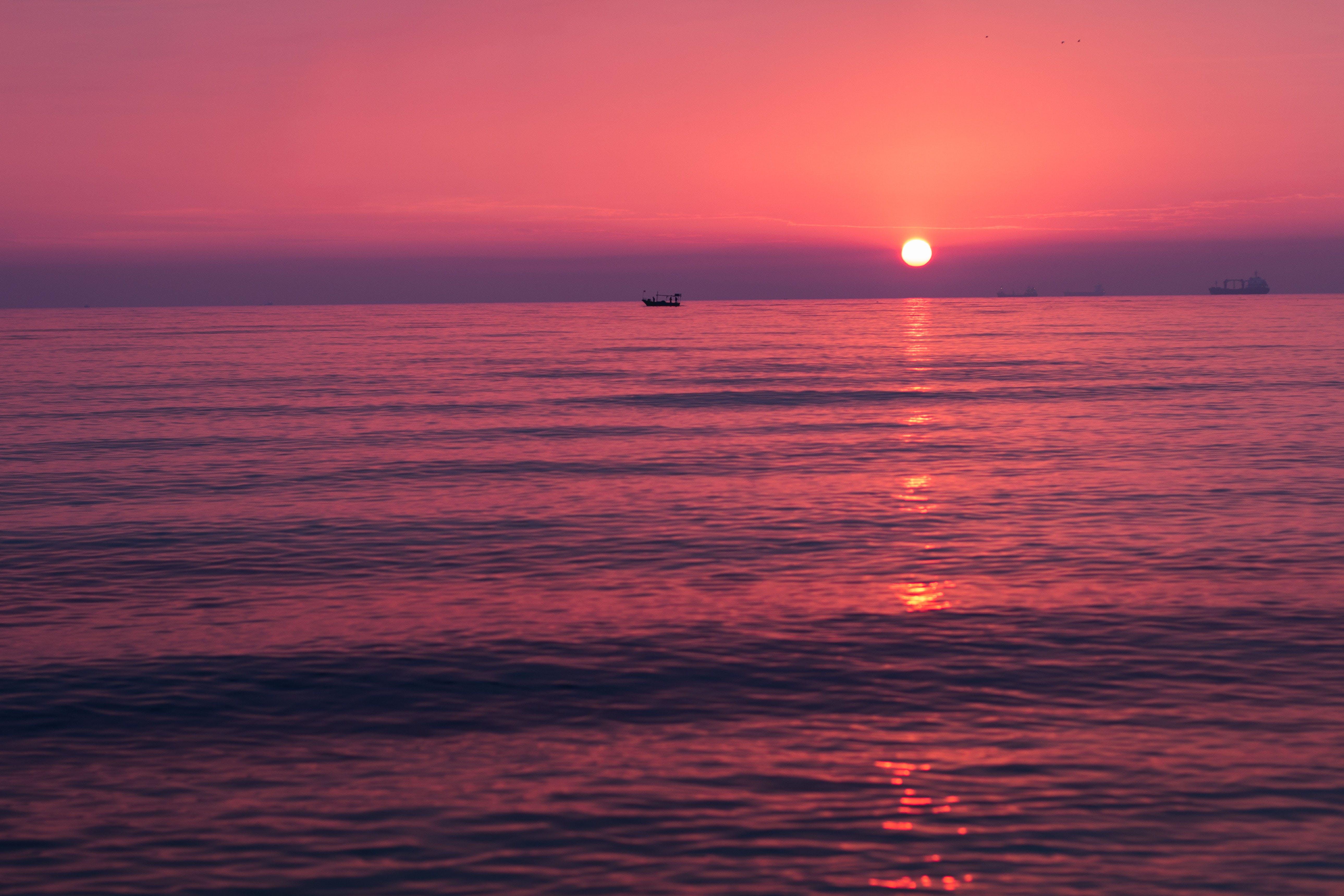 båt, hav, landskap