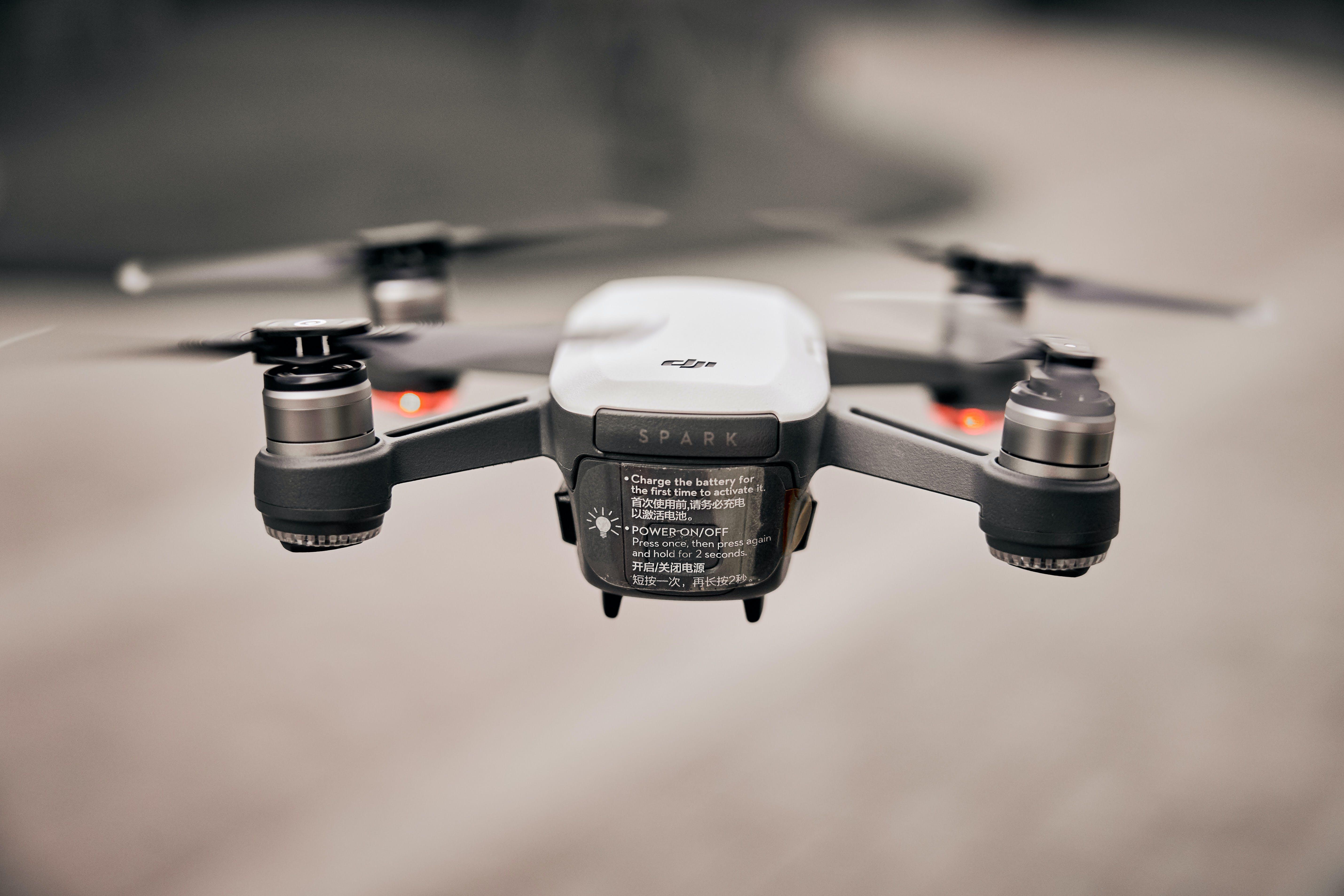 Flying White Drone Tilt Shift Lens Photography