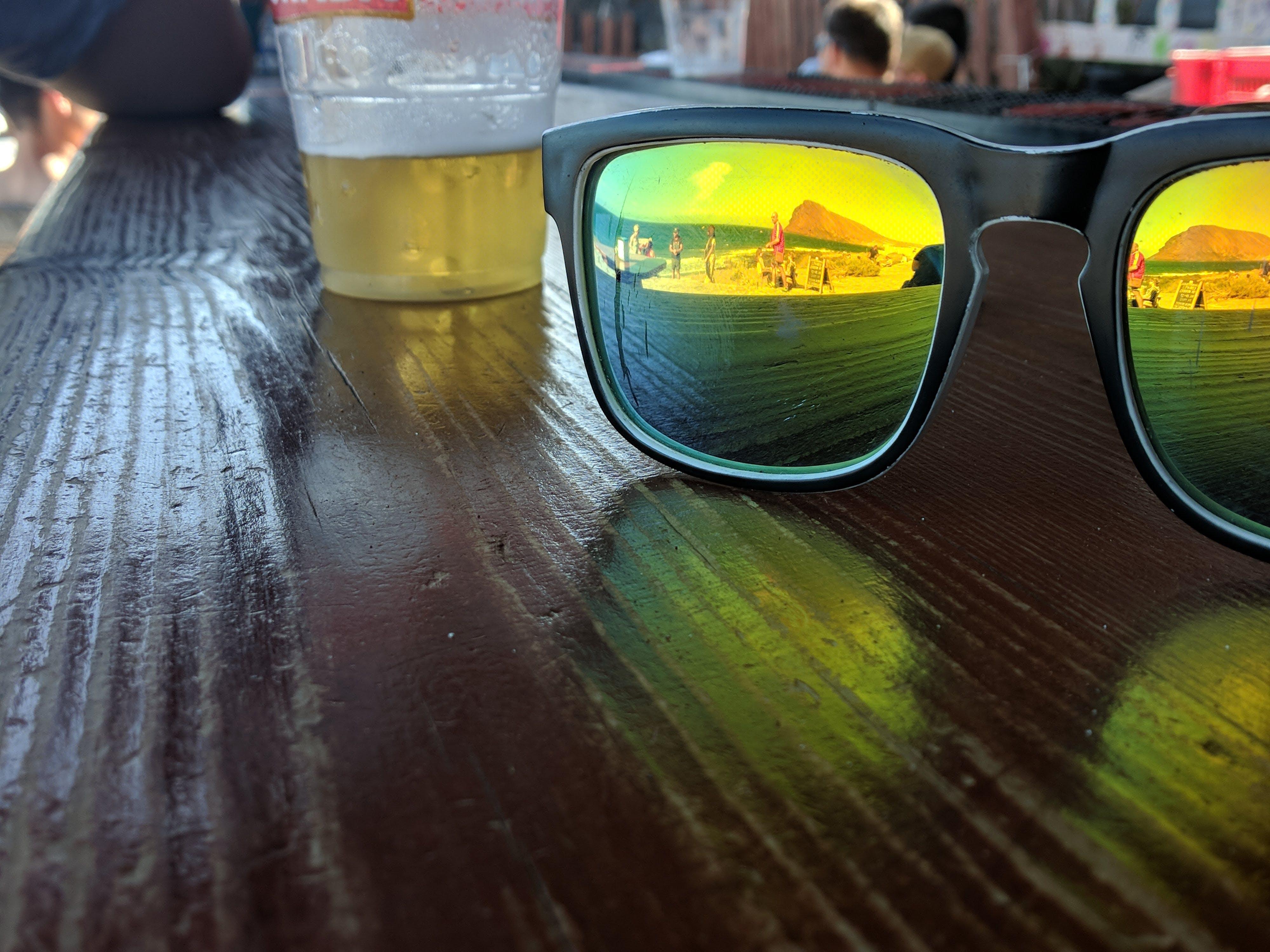 Free stock photo of beach, beer, eye glasses, golden sun