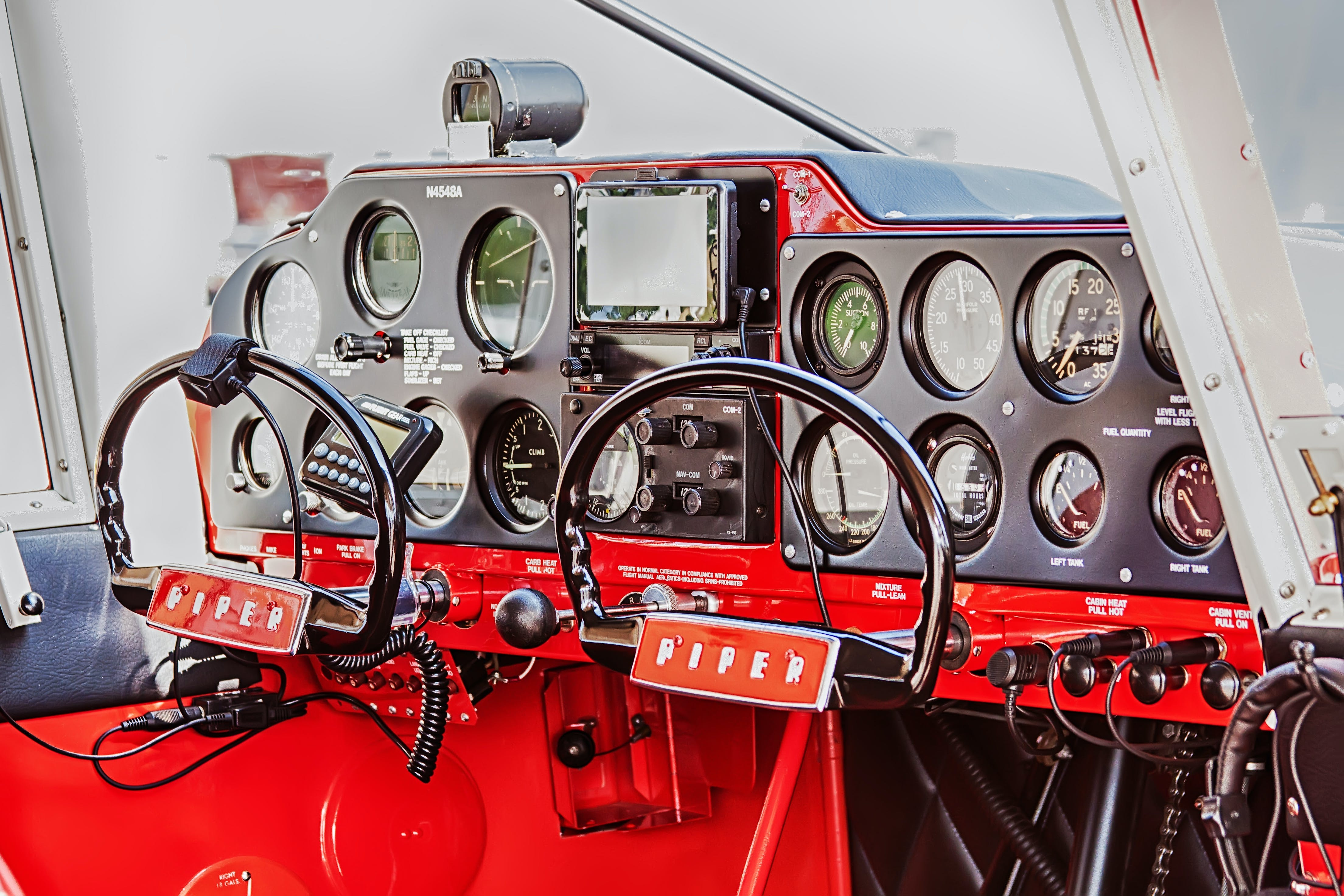 Red and Black Airplane Cockpit