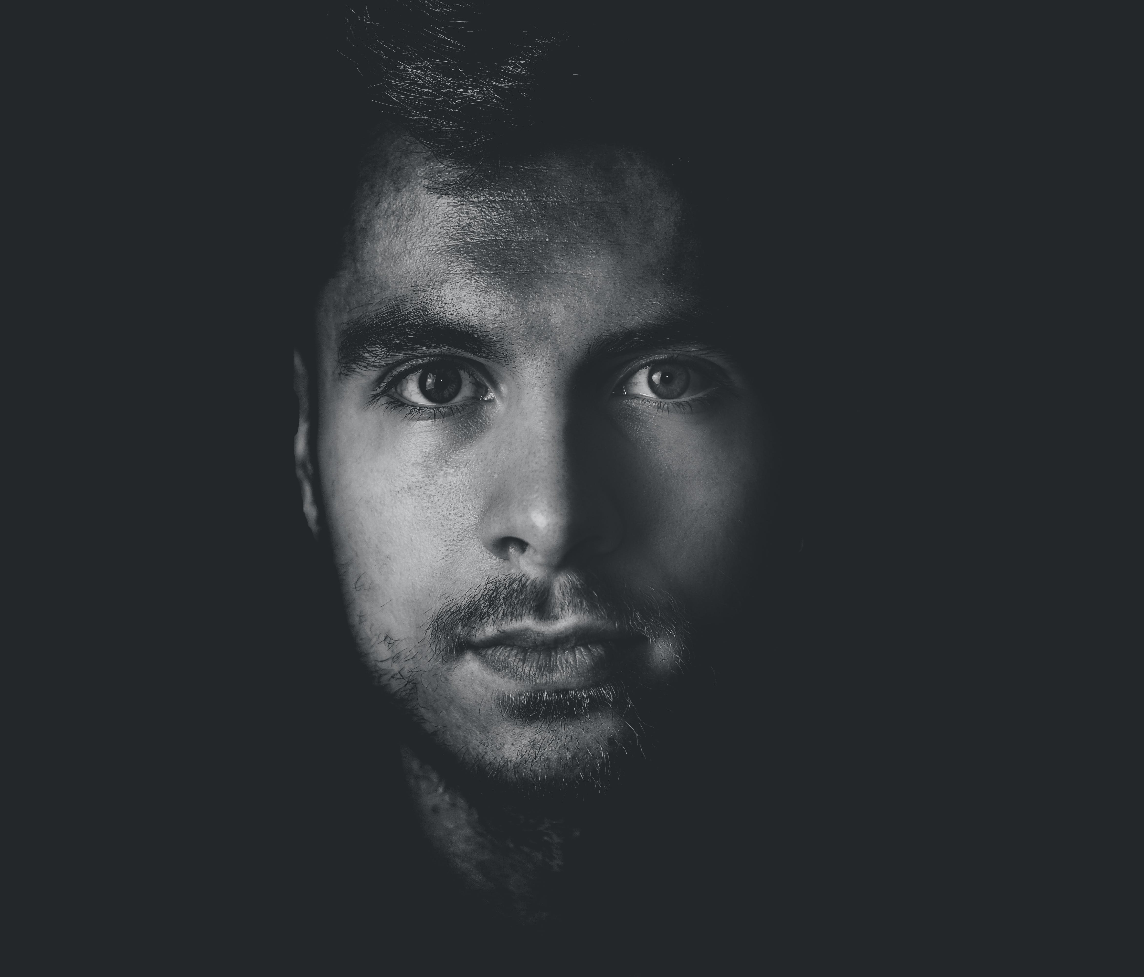 Grayscale Photo of Man's Face