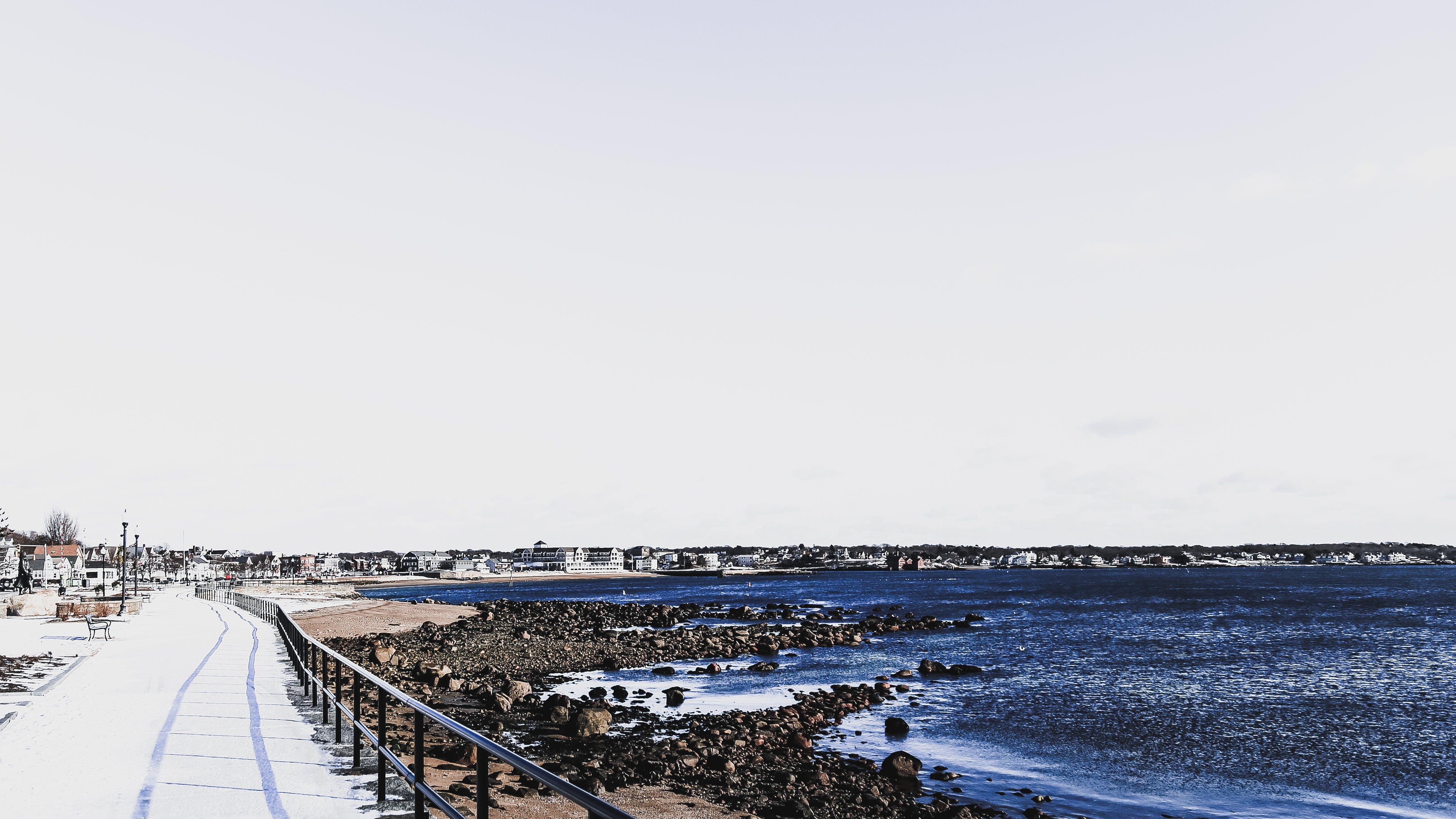 Aerial View of City Near Seashore